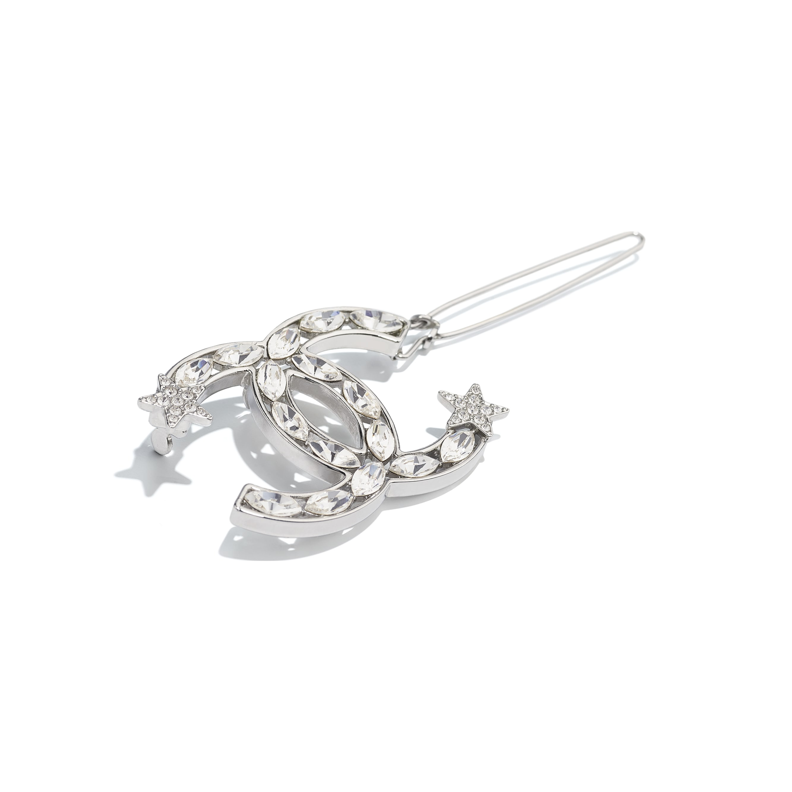 Hair Clip - Silver & Crystal - Metal & Diamantés - Alternative view - see standard sized version