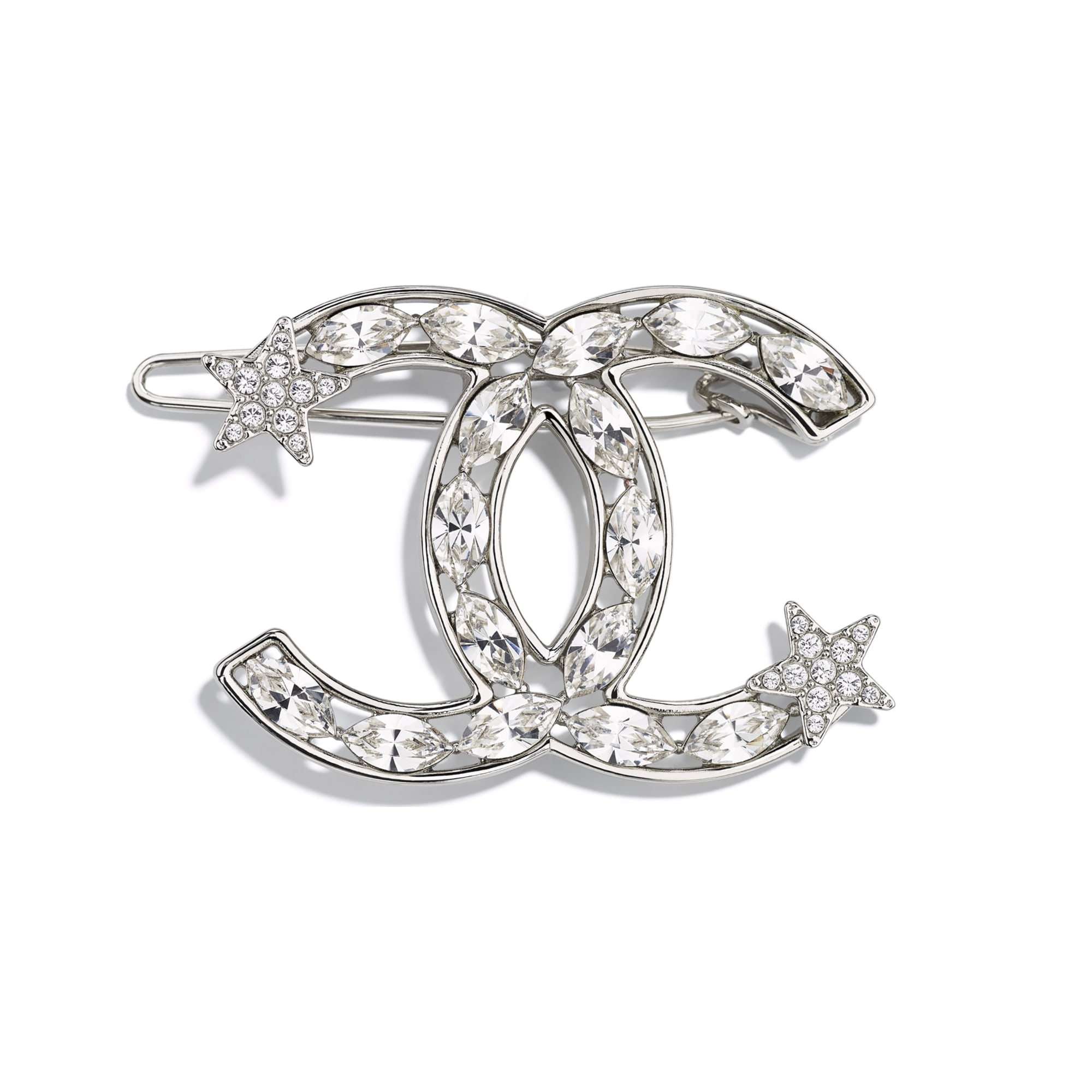 Hair Clip - Silver & Crystal - Metal & Diamantés - Default view - see standard sized version
