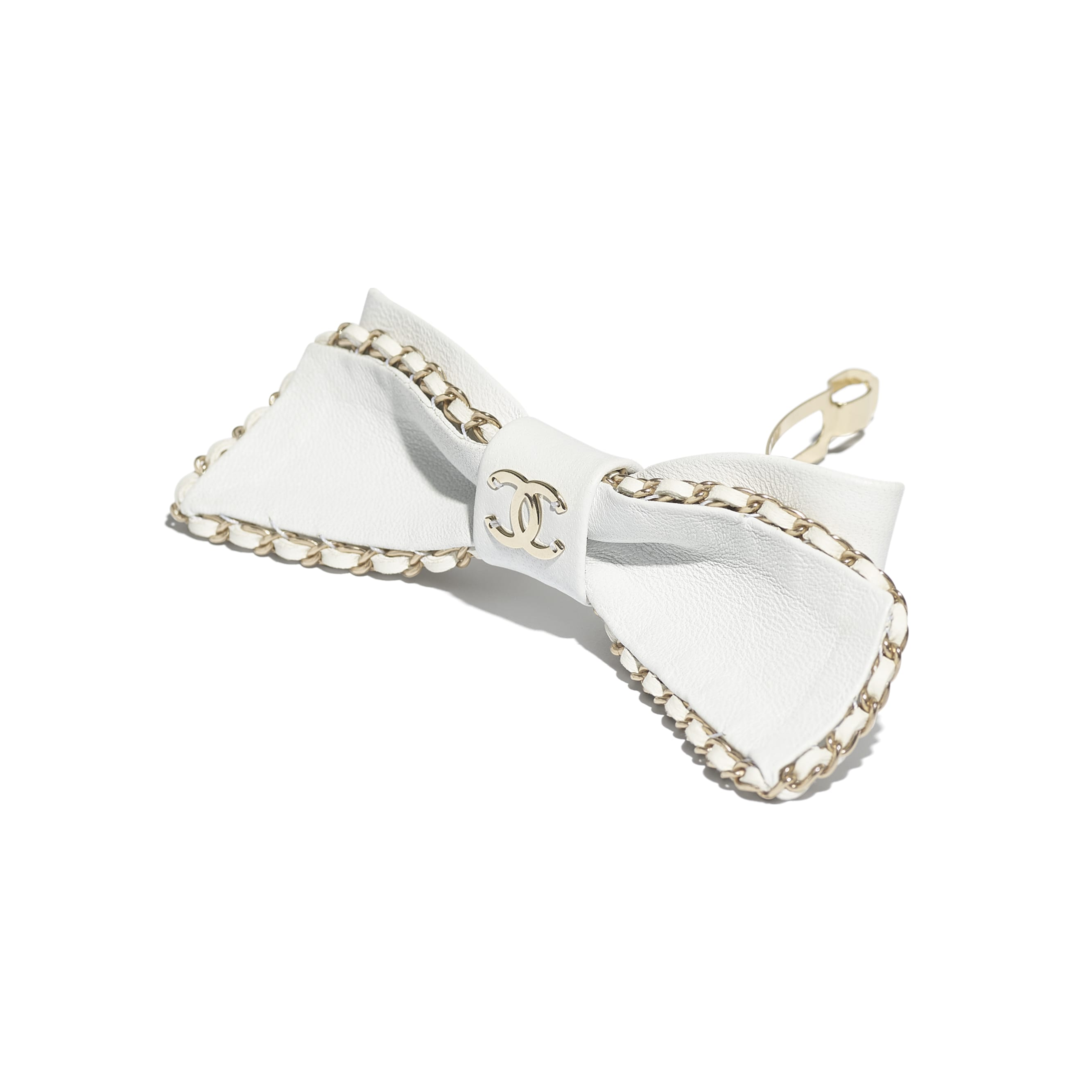 Hair Clip - White - Lambskin & Gold Metal  - CHANEL - Alternative view - see standard sized version