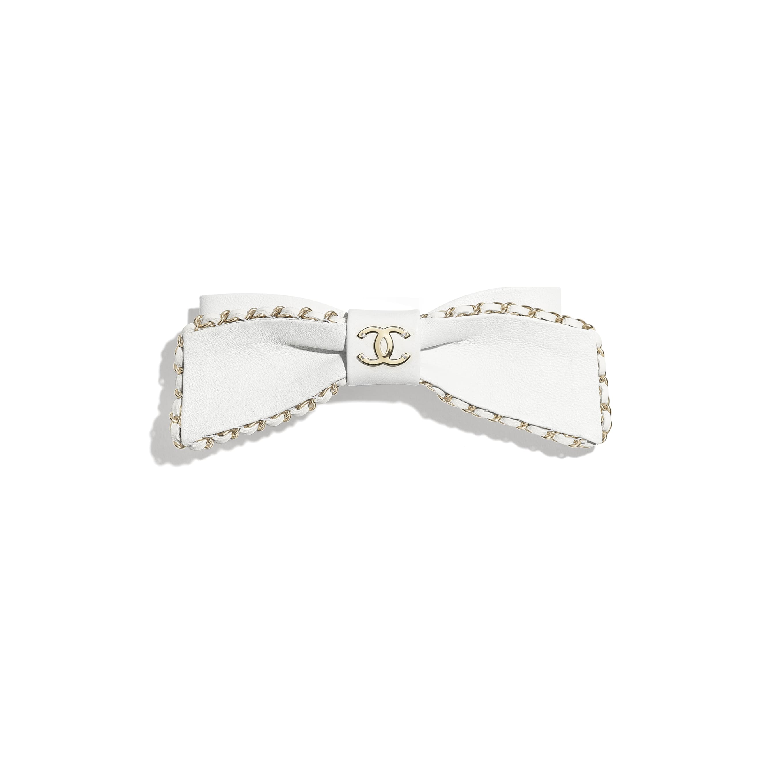 Hair Clip - White - Lambskin & Gold Metal  - CHANEL - Default view - see standard sized version