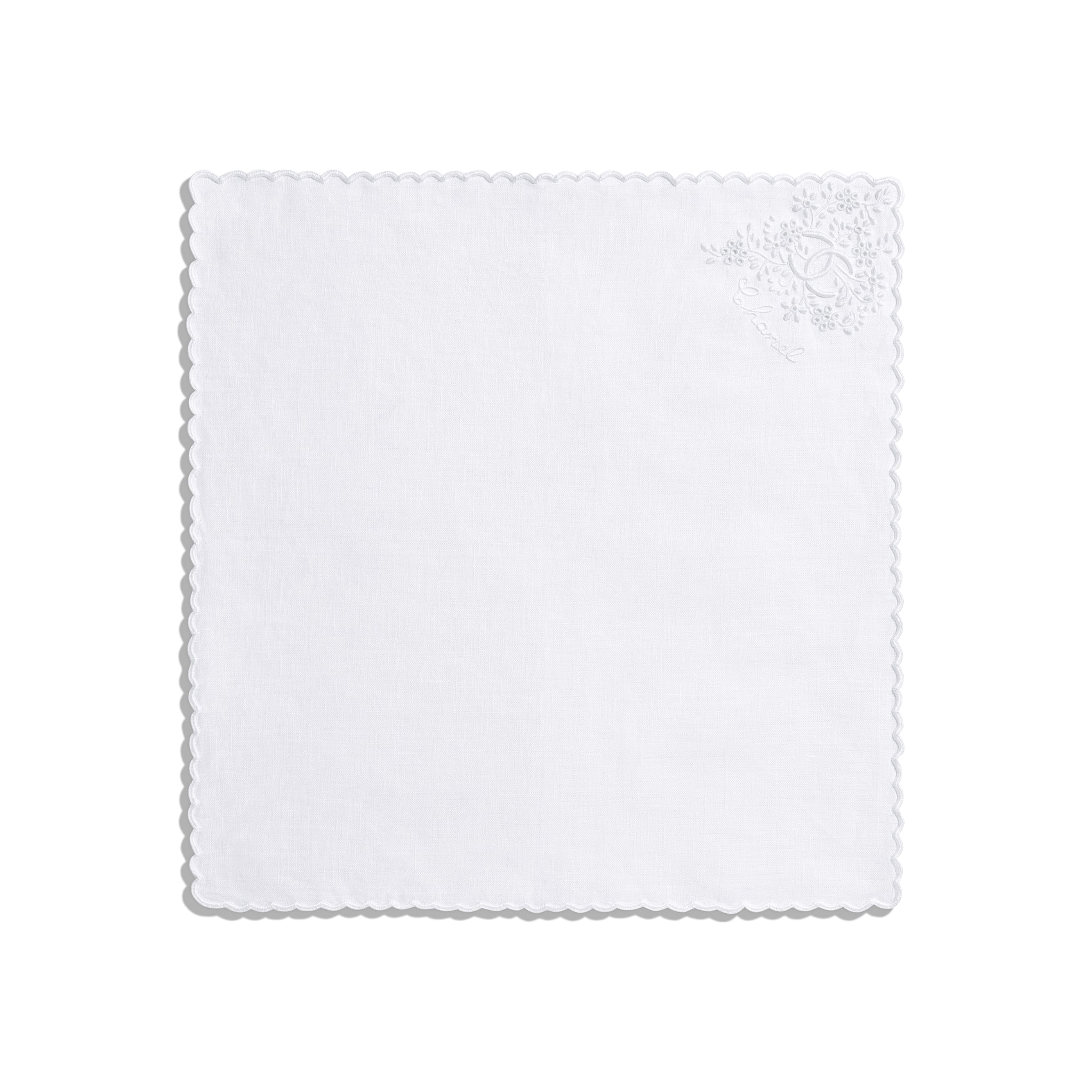 Handkerchief - White - Linen - Alternative view - see standard sized version