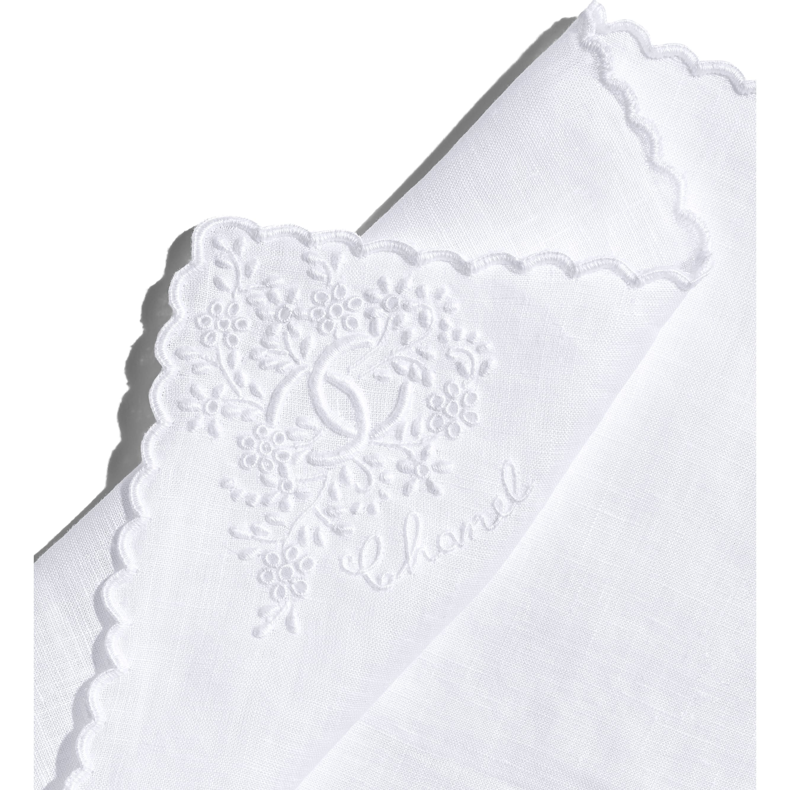 Handkerchief - White - Linen - Other view - see standard sized version