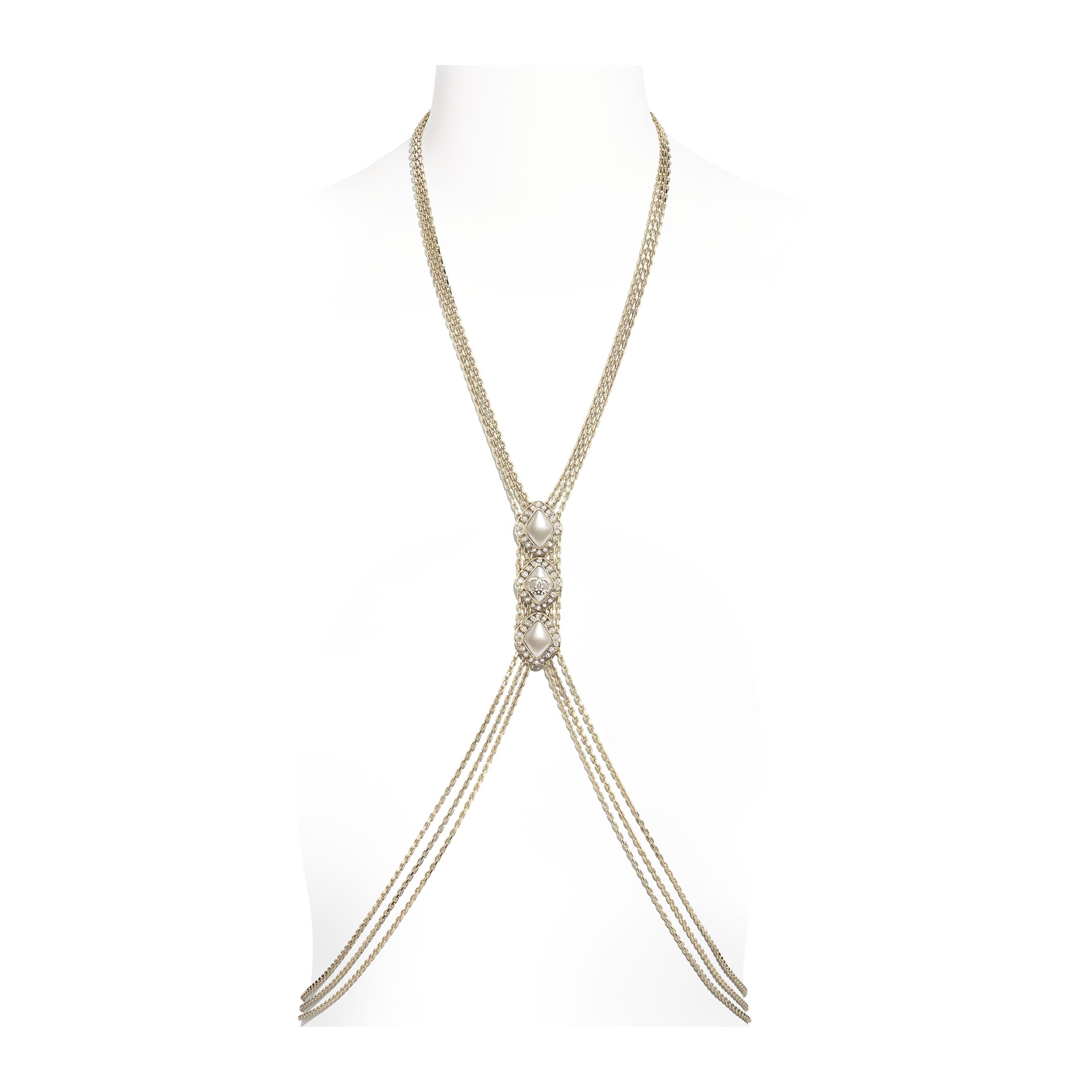 Harness - Dourado, Branco Perolado & Cristal - Metal, Strass & Resina - CHANEL - Vista predefinida - ver a versão em tamanho standard