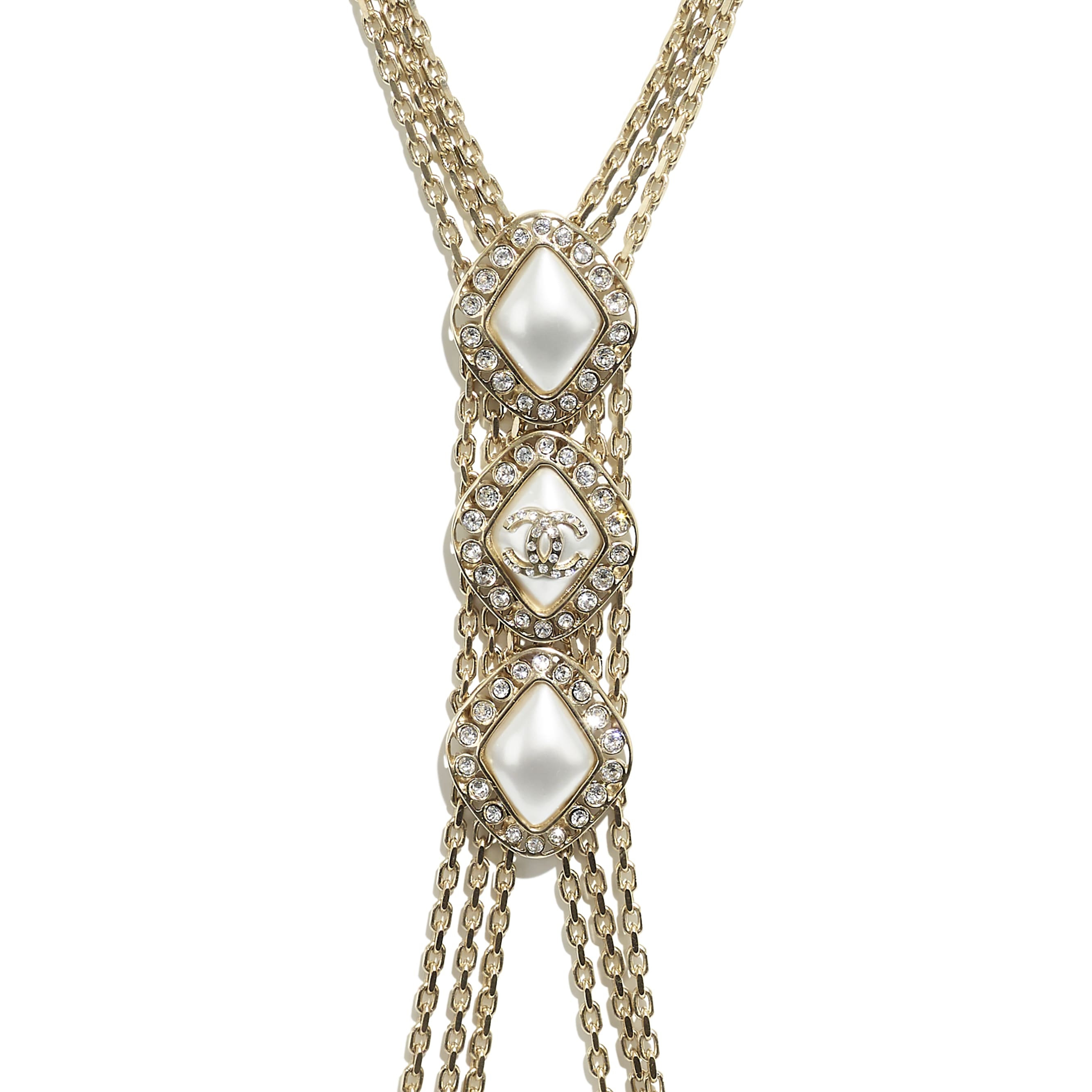 Harness - Dourado, Branco Perolado & Cristal - Metal, Strass & Resina - CHANEL - Outra vista - ver a versão em tamanho standard