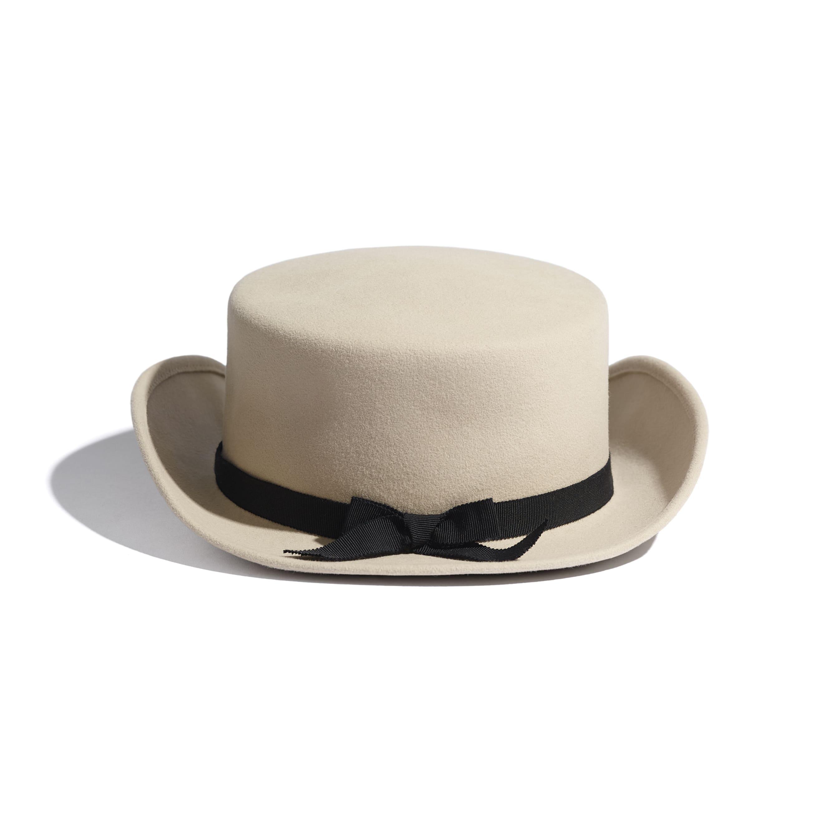 Hat - Beige & Black - Felt & Grosgrain - Alternative view - see standard sized version