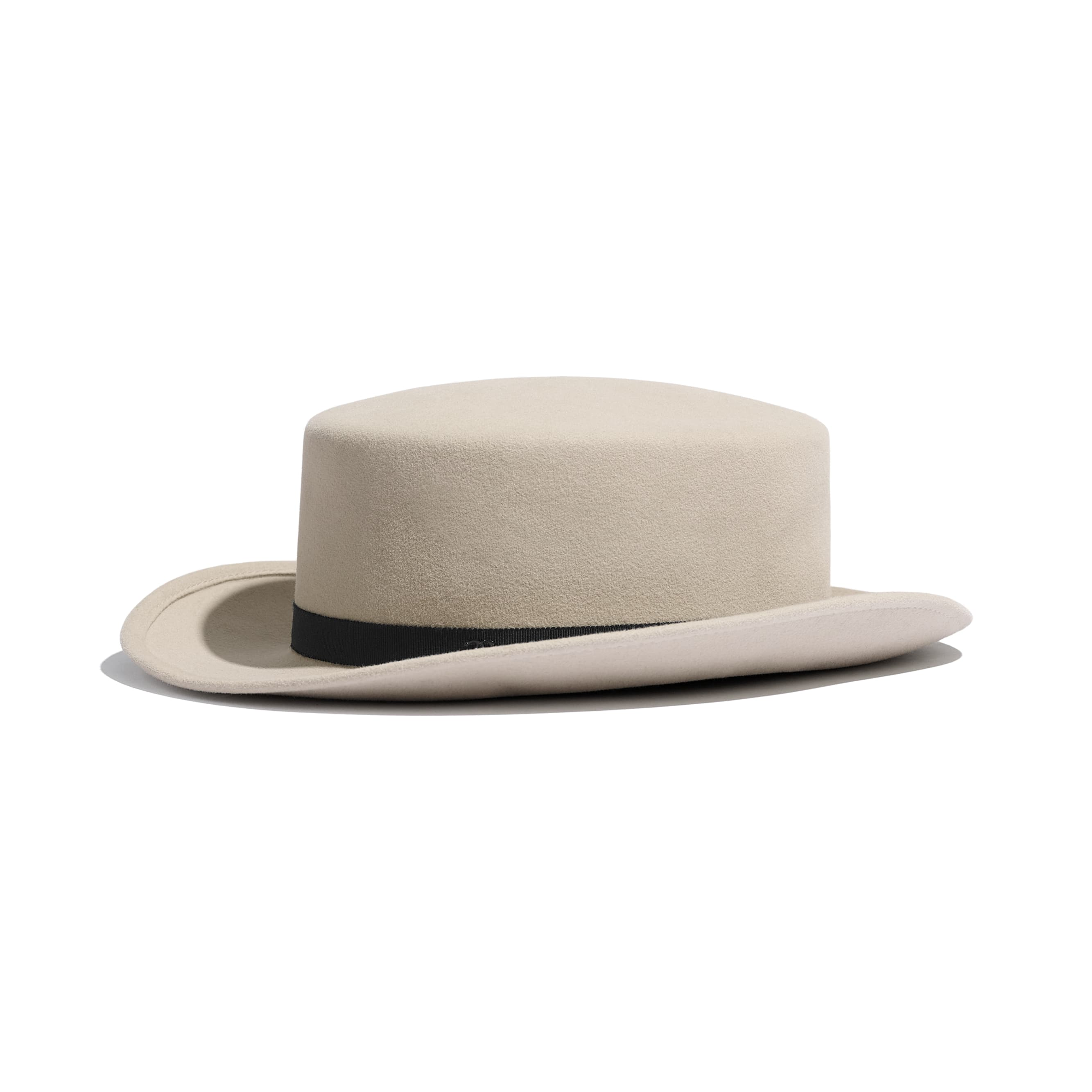 Hat - Beige & Black - Felt & Grosgrain - Default view - see standard sized version
