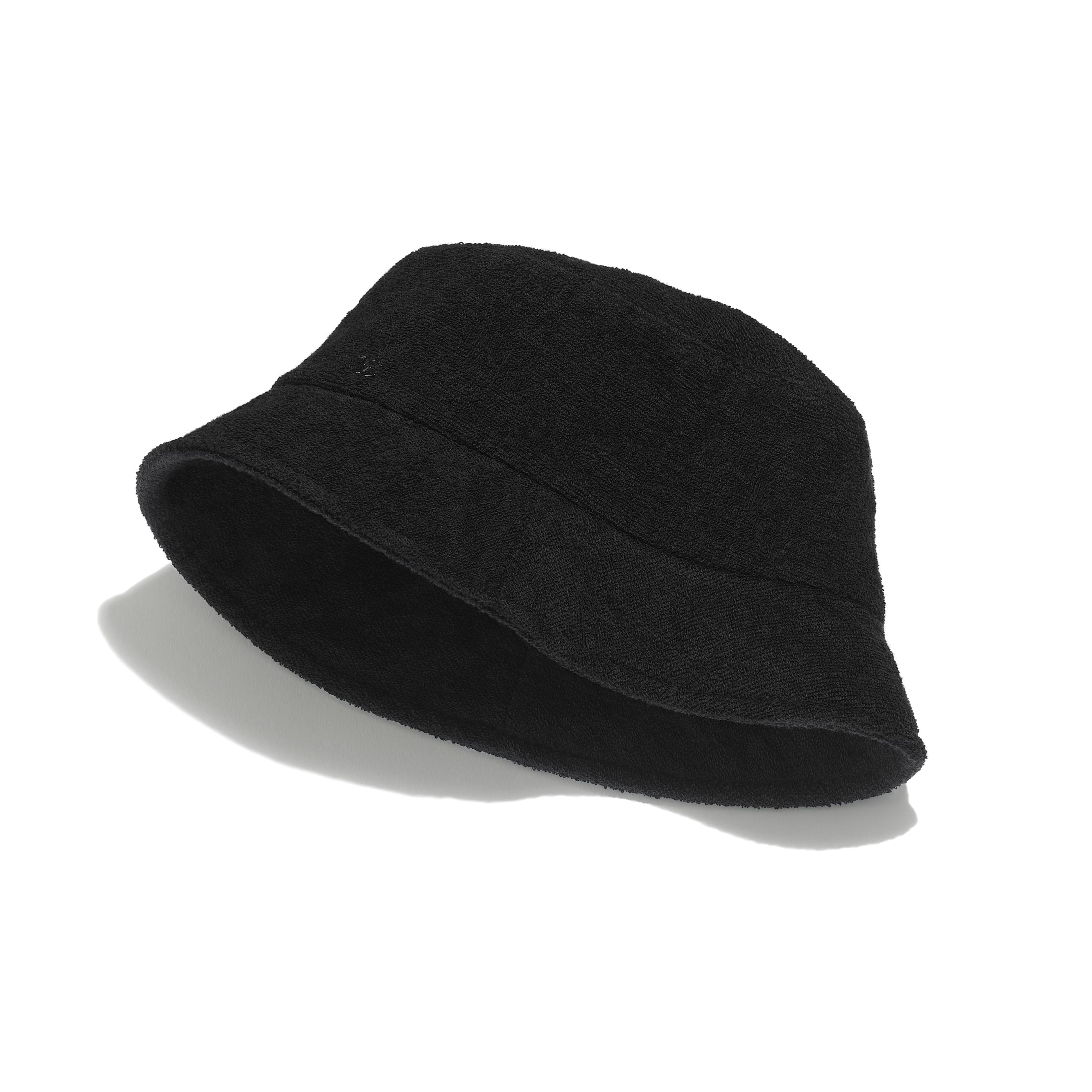 Hat - Black - Cotton Terrycloth - CHANEL - Default view - see standard sized version