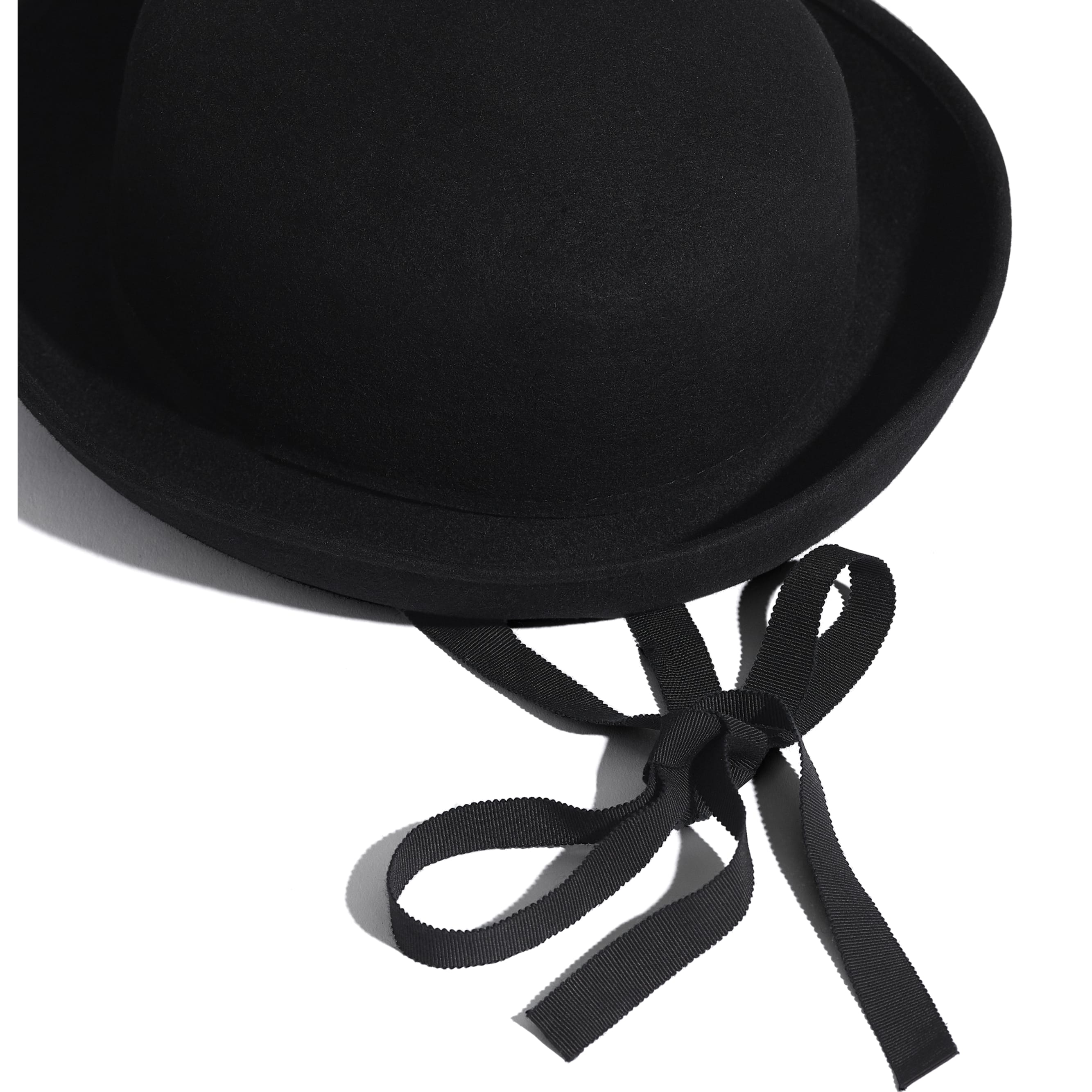 Hat - Black - Felt & Grosgrain - CHANEL - Alternative view - see standard sized version
