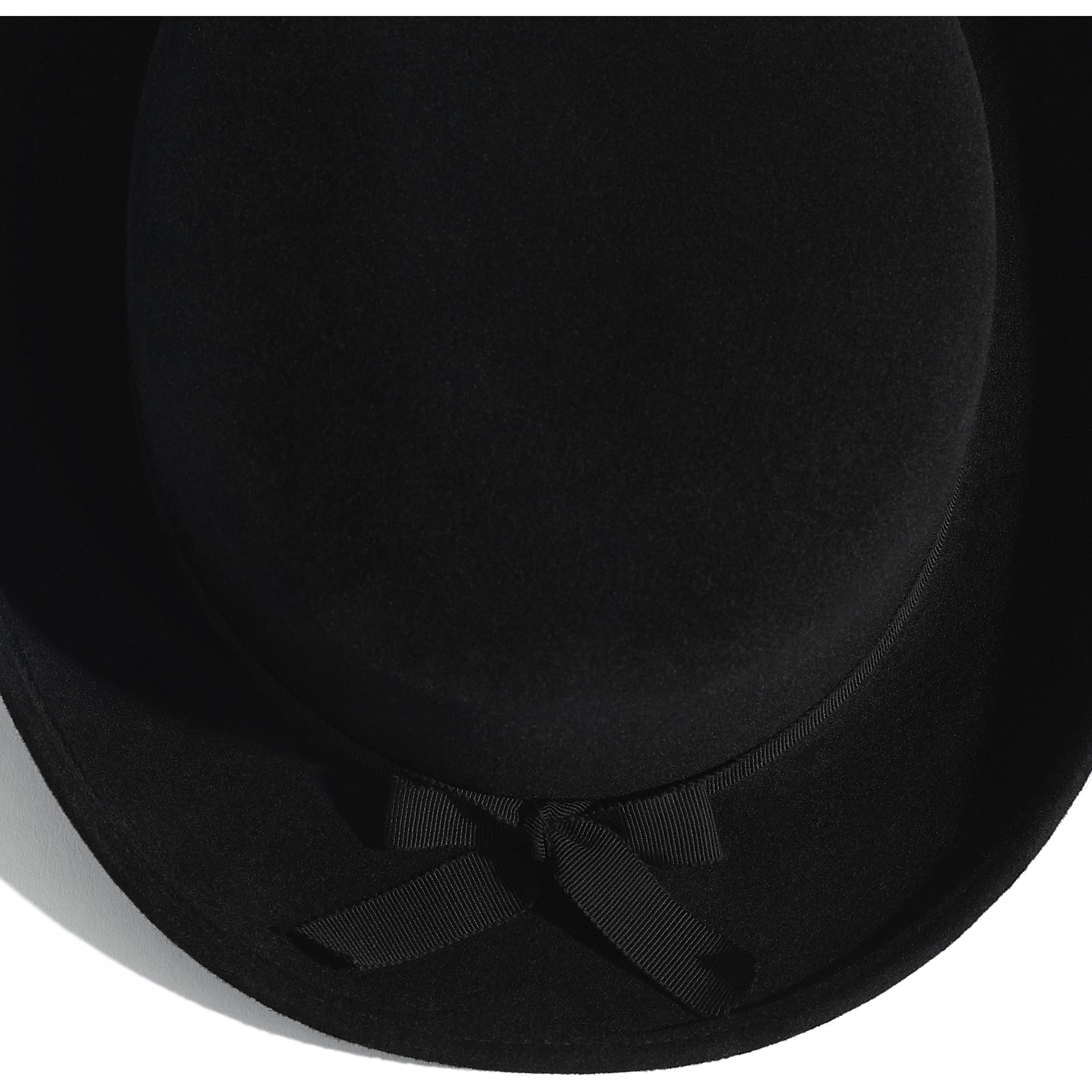 Hat - Black - Felt & Grosgrain - Alternative view - see standard sized version