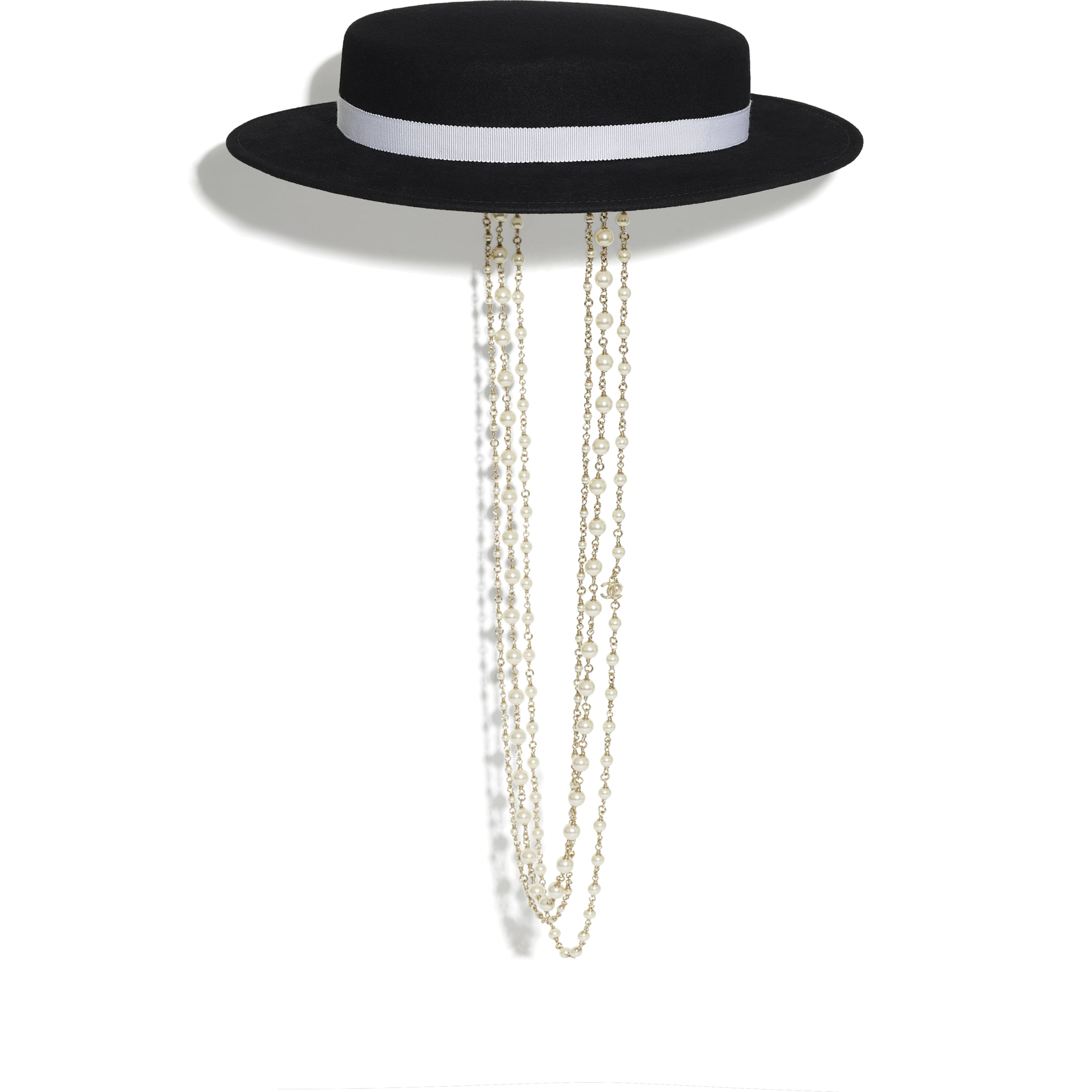 Hat - Black - Felt, Grosgrain, Glass Pearls & Gold-Tone Metal - CHANEL - Default view - see standard sized version