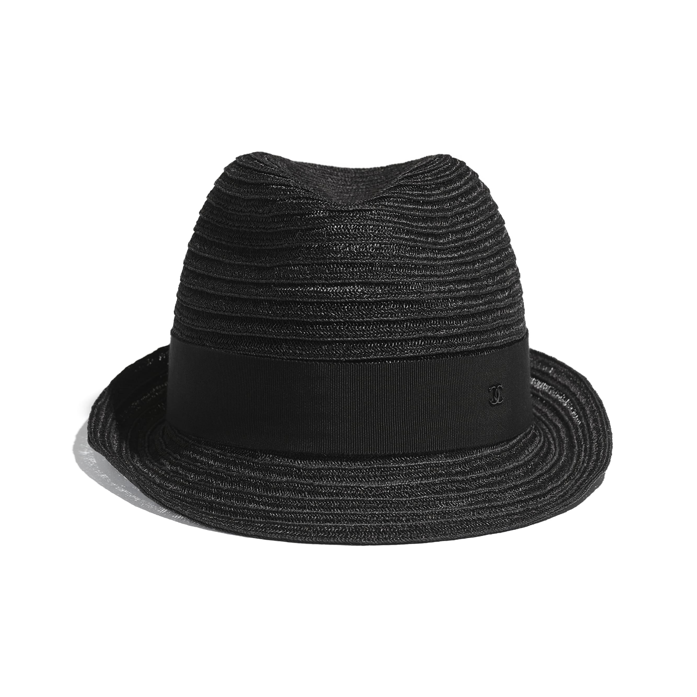 Hat - Black - Straw & Grosgrain - CHANEL - Alternative view - see standard sized version