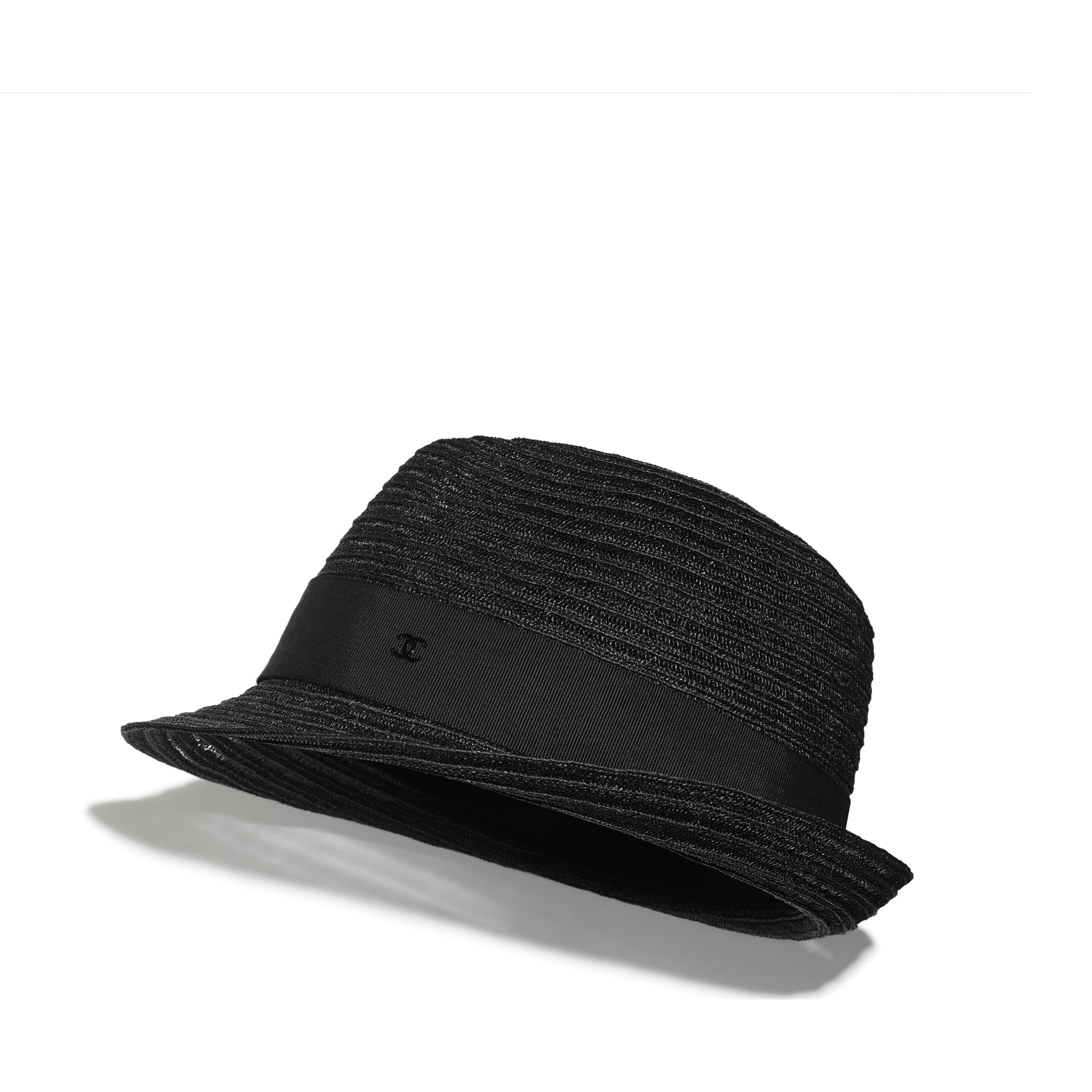 Hat - Black - Straw & Grosgrain - CHANEL - Default view - see standard sized version