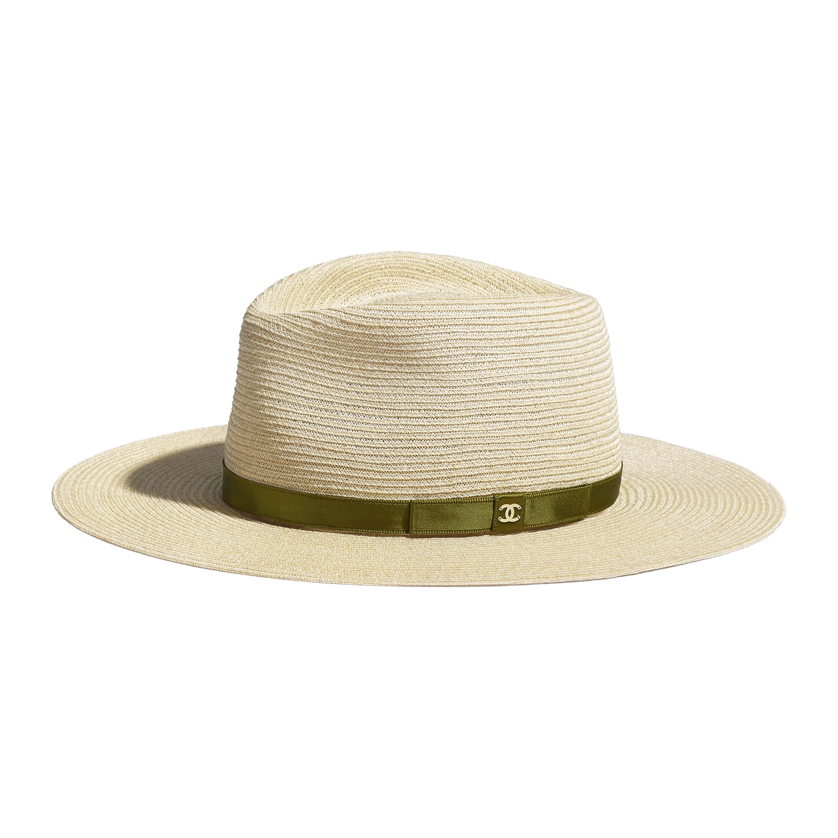 Hat - Ivory & Khaki - Straw & Silk - Default view - see standard sized version