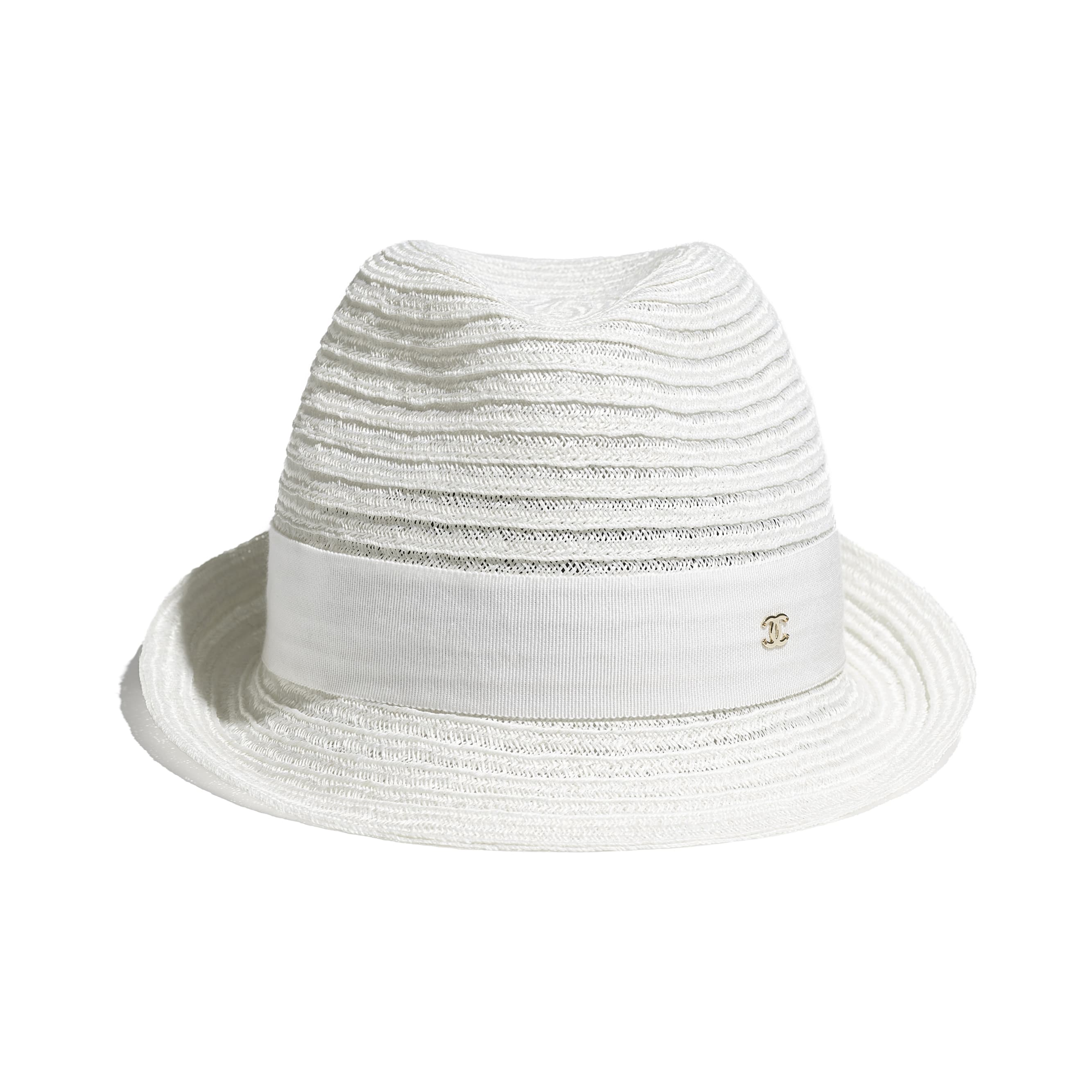 Hat - White - Straw & Grosgrain - CHANEL - Alternative view - see standard sized version