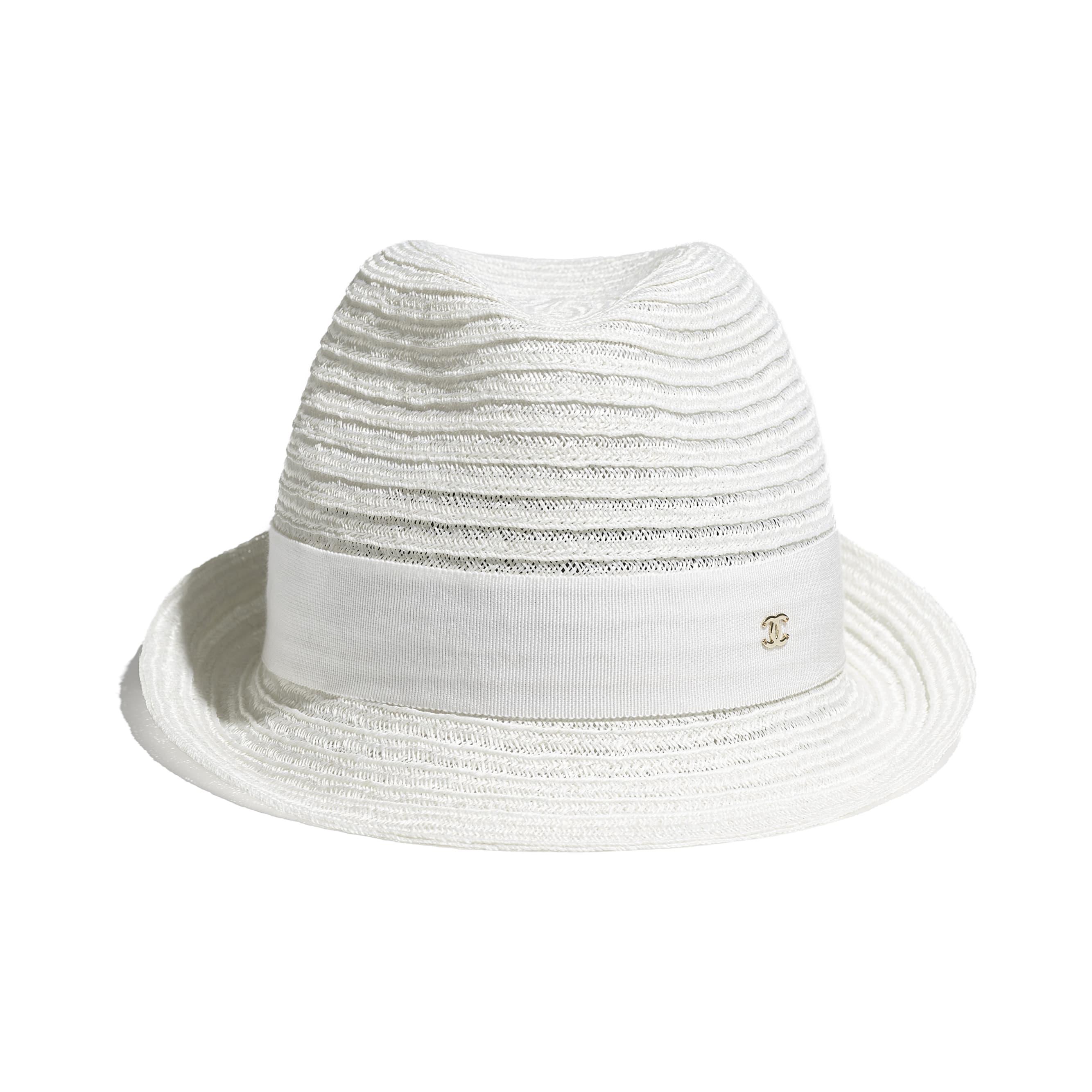 Шляпа - Белый - Солома и грогрен - CHANEL - Альтернативный вид - посмотреть изображение стандартного размера