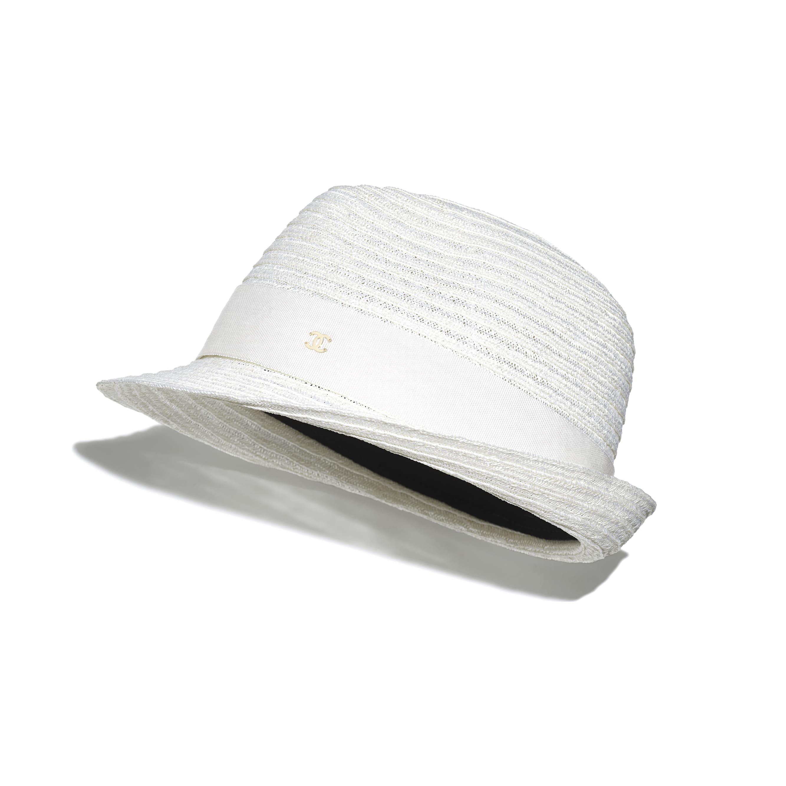 Hat - White - Straw & Grosgrain - CHANEL - Default view - see standard sized version