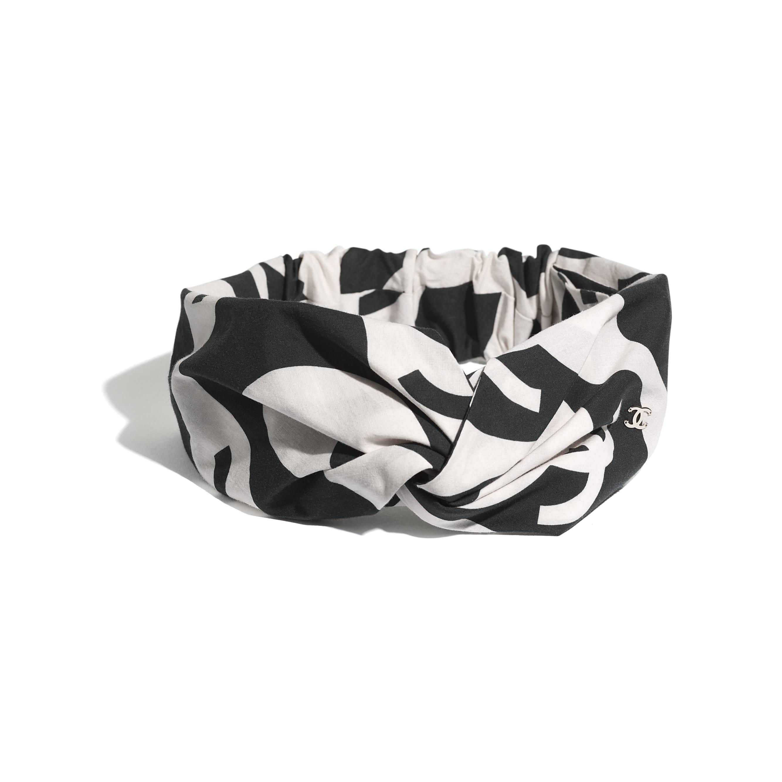 Headband - Black & Ecru - Cotton - CHANEL - Alternative view - see standard sized version