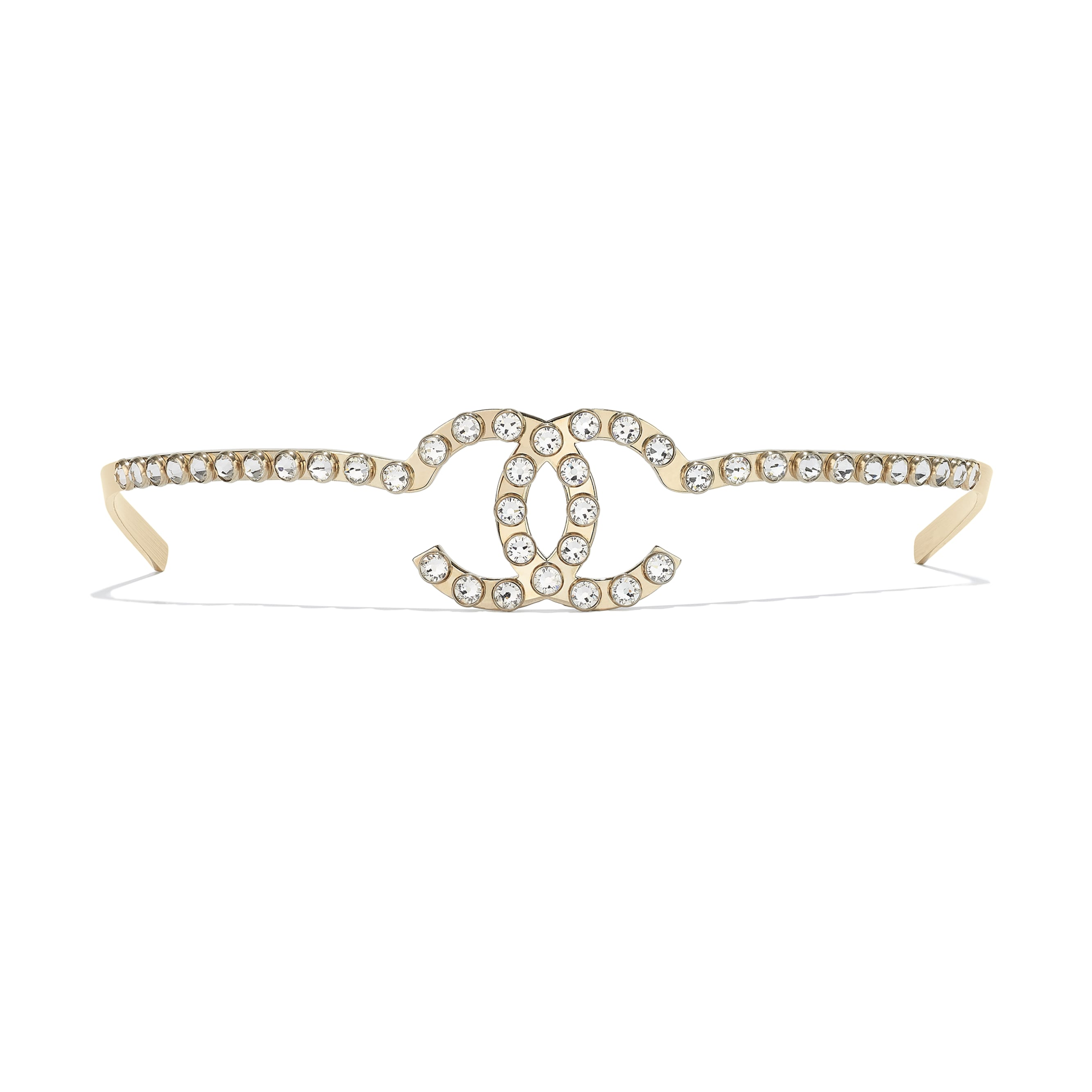 Headband - Gold & Crystal - Metal & Diamantés - CHANEL - Alternative view - see standard sized version