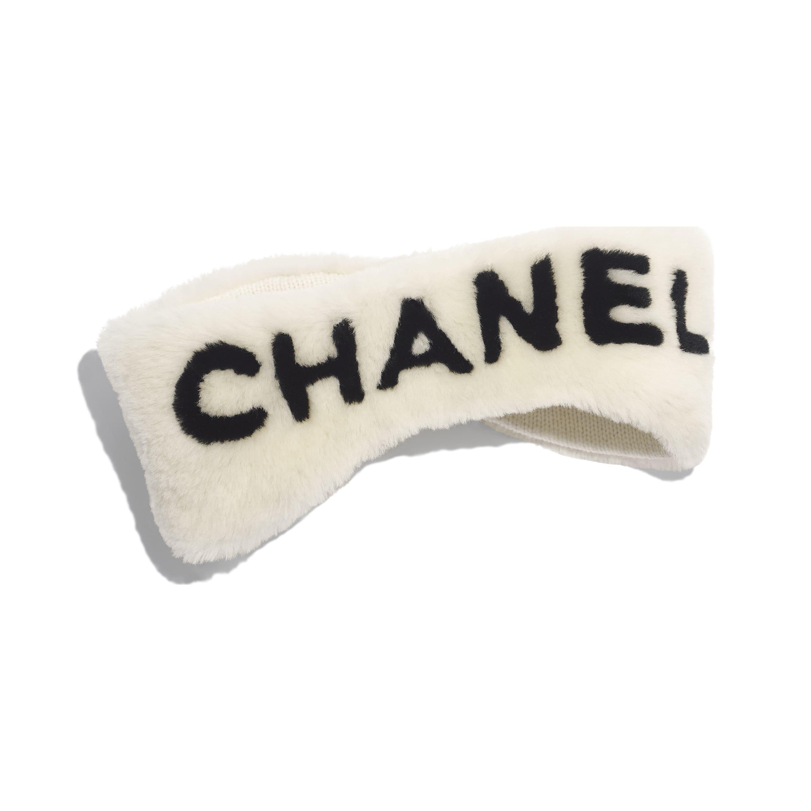 Headband - Ivory & Black - Cashmere & Shearling - Alternative view - see standard sized version