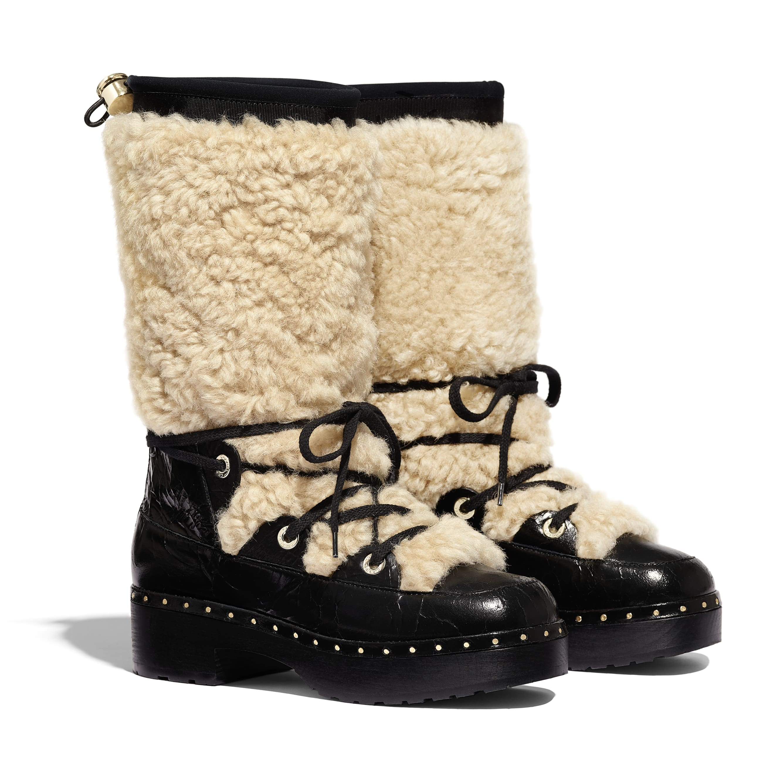 High Boots - Beige & Black - Shearling & Crackled Sheepskin - Alternative view - see standard sized version