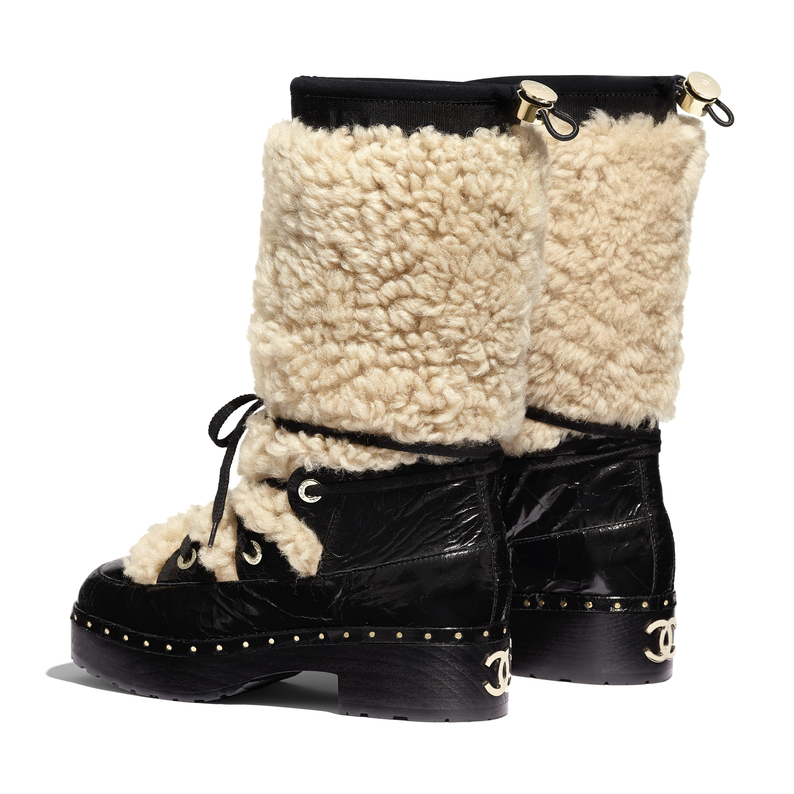 High Boots - Beige & Black - Shearling & Crackled Sheepskin - Other view - see standard sized version