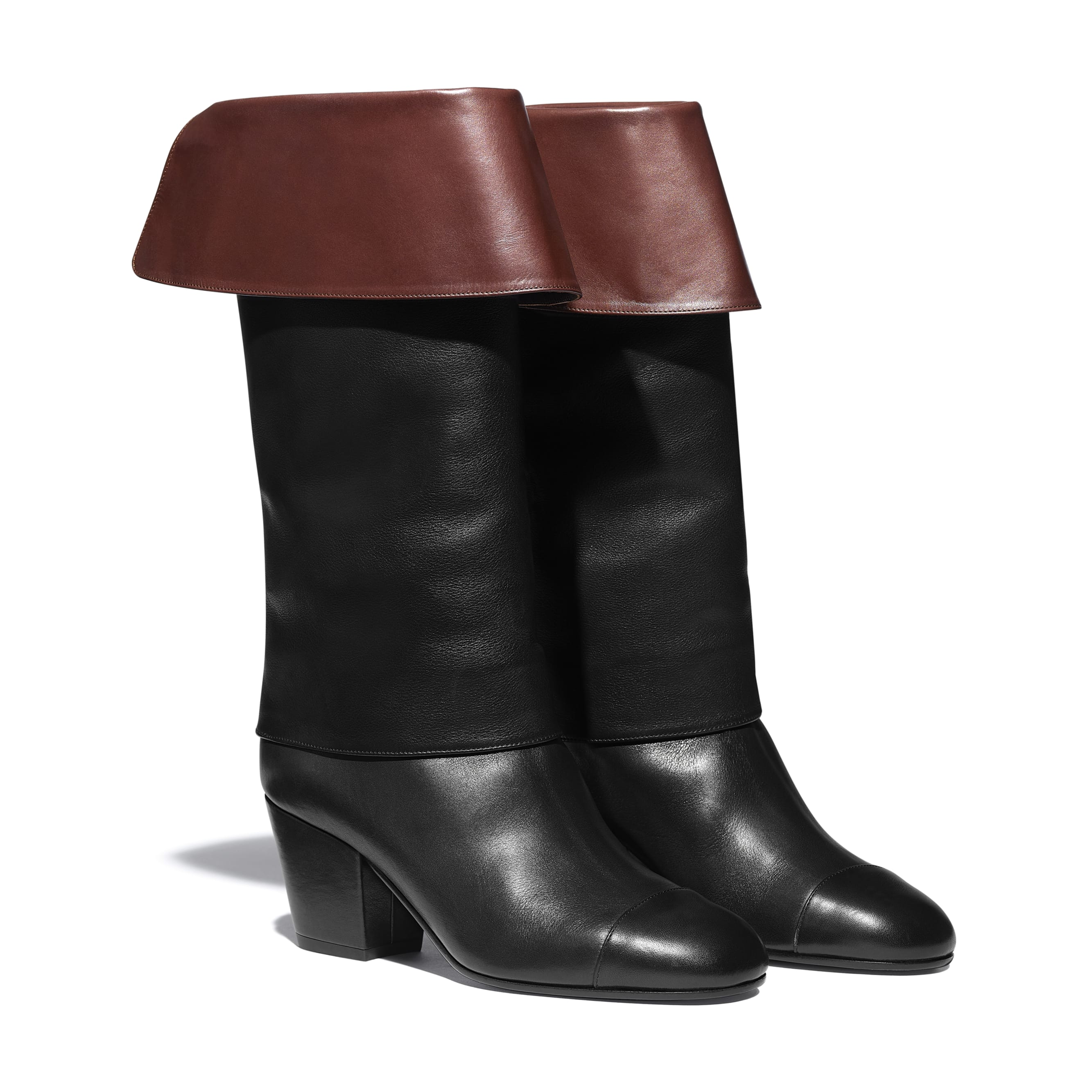 High Boots - Black & Brown - Calfskin - CHANEL - Alternative view - see standard sized version