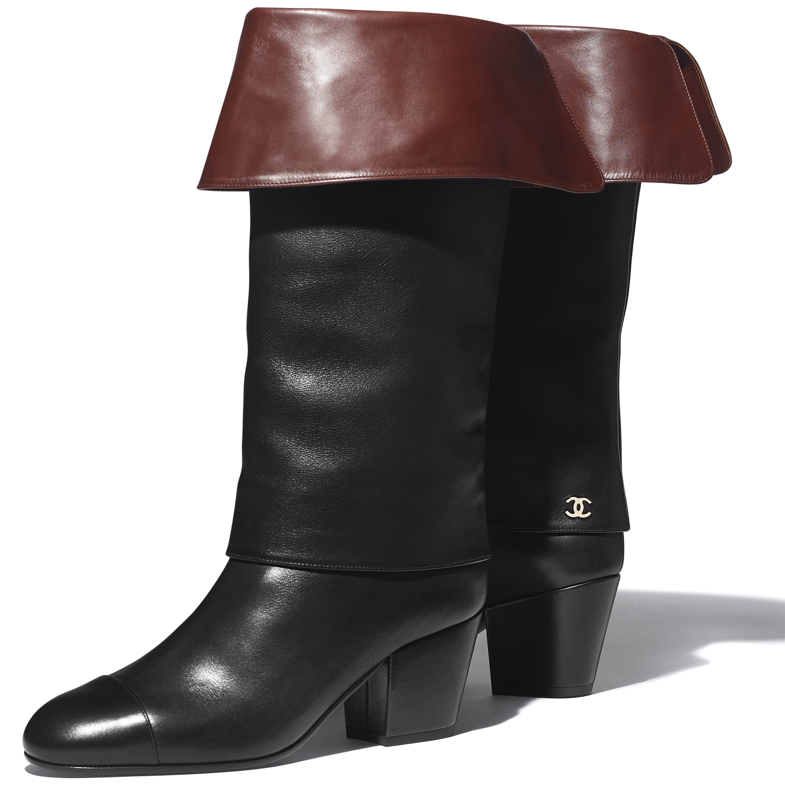 High Boots - Black & Brown - Calfskin - CHANEL - Extra view - see standard sized version