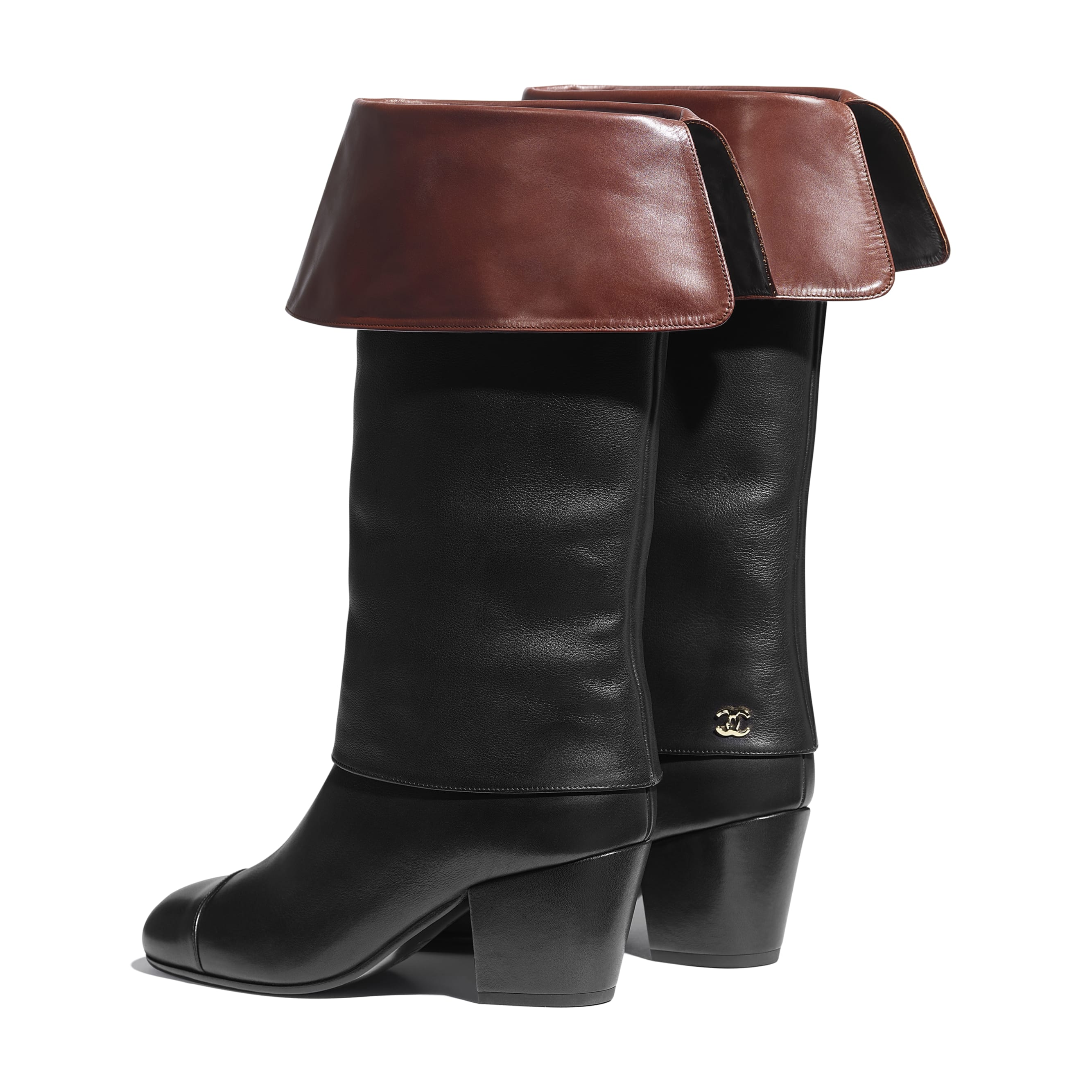 High Boots - Black & Brown - Calfskin - CHANEL - Other view - see standard sized version