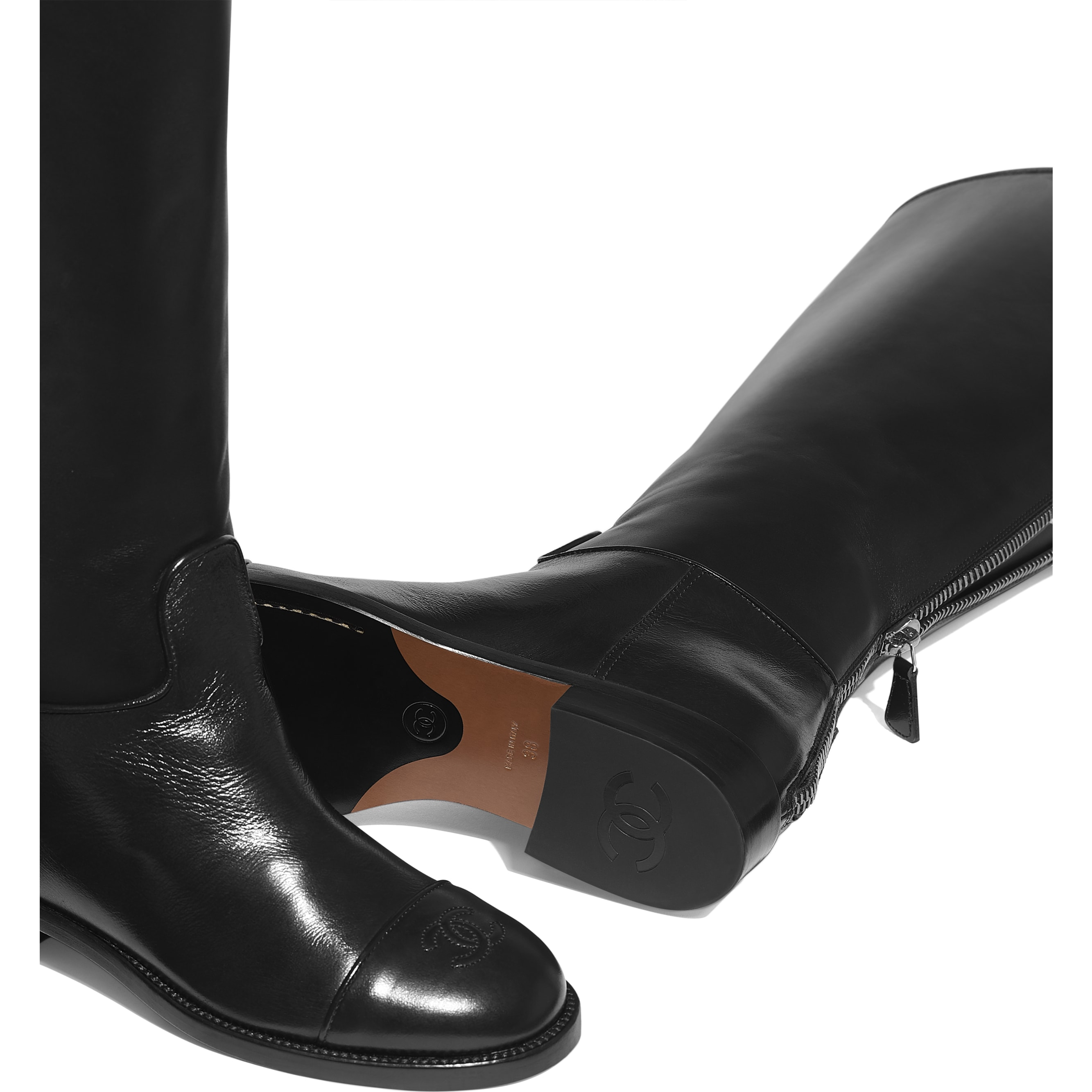High Boots - Black - Calfskin - Extra view - see standard sized version
