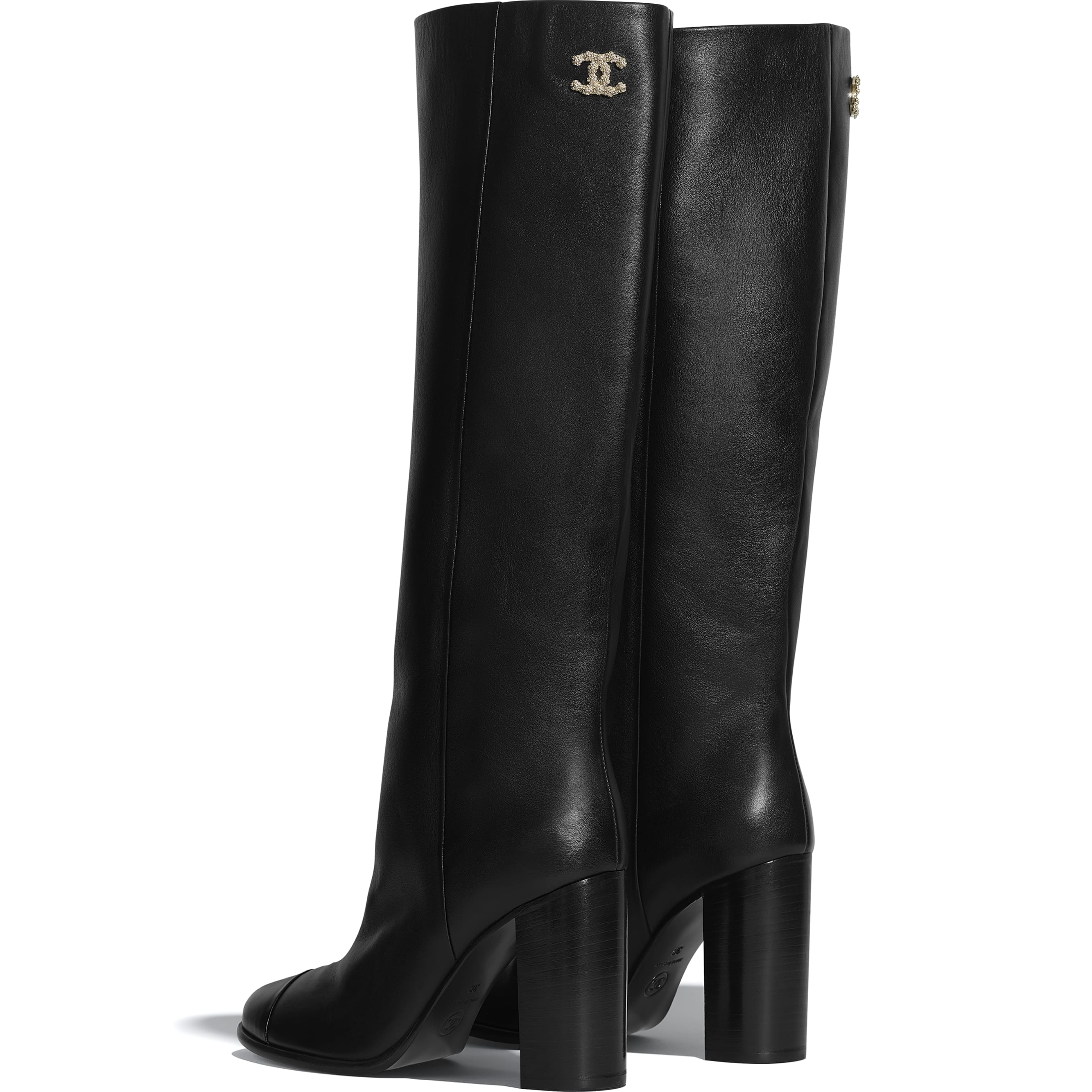 High Boots - Black - Calfskin - CHANEL - Other view - see standard sized version