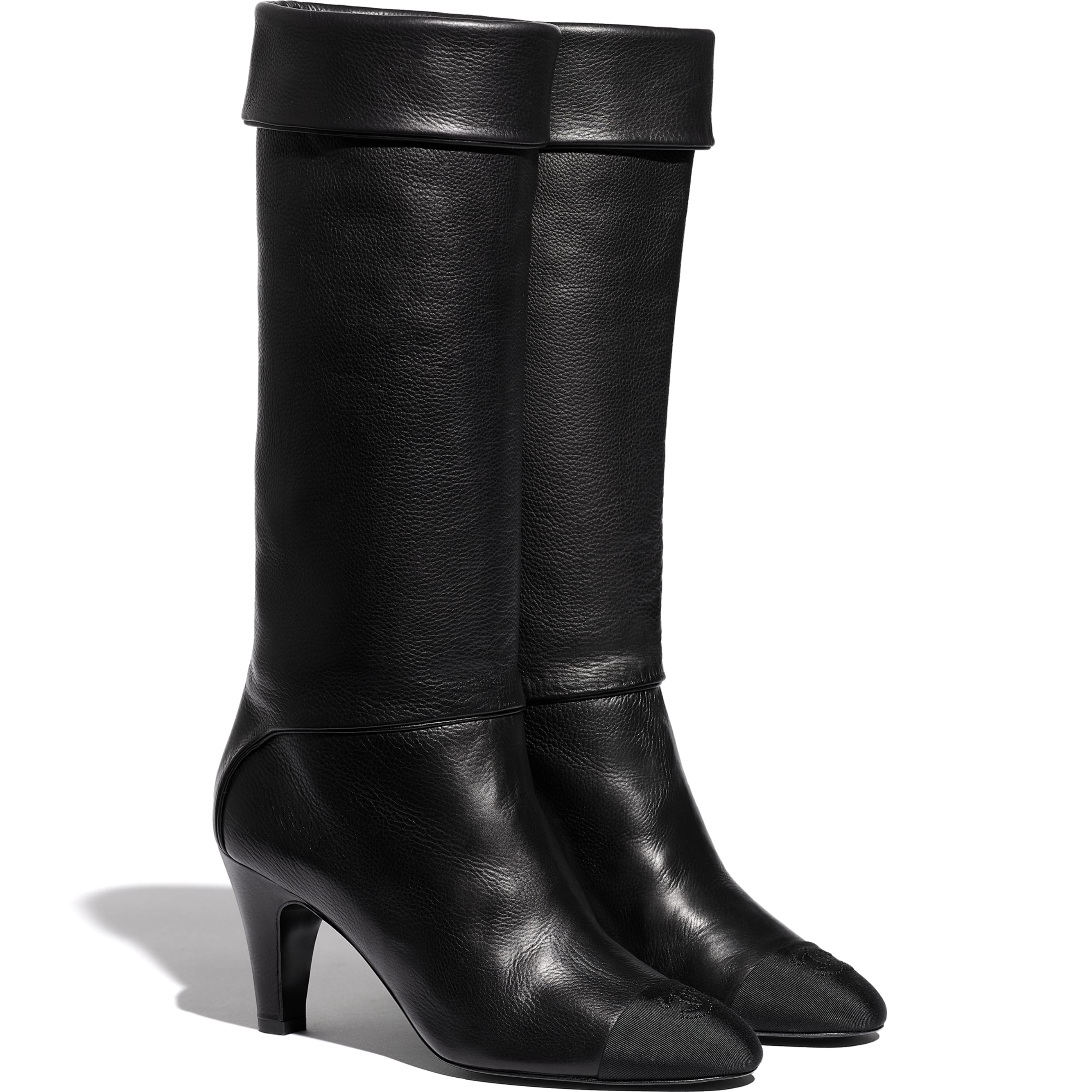 High Boots - Black - Calfskin & Grosgrain - CHANEL - Alternative view - see standard sized version