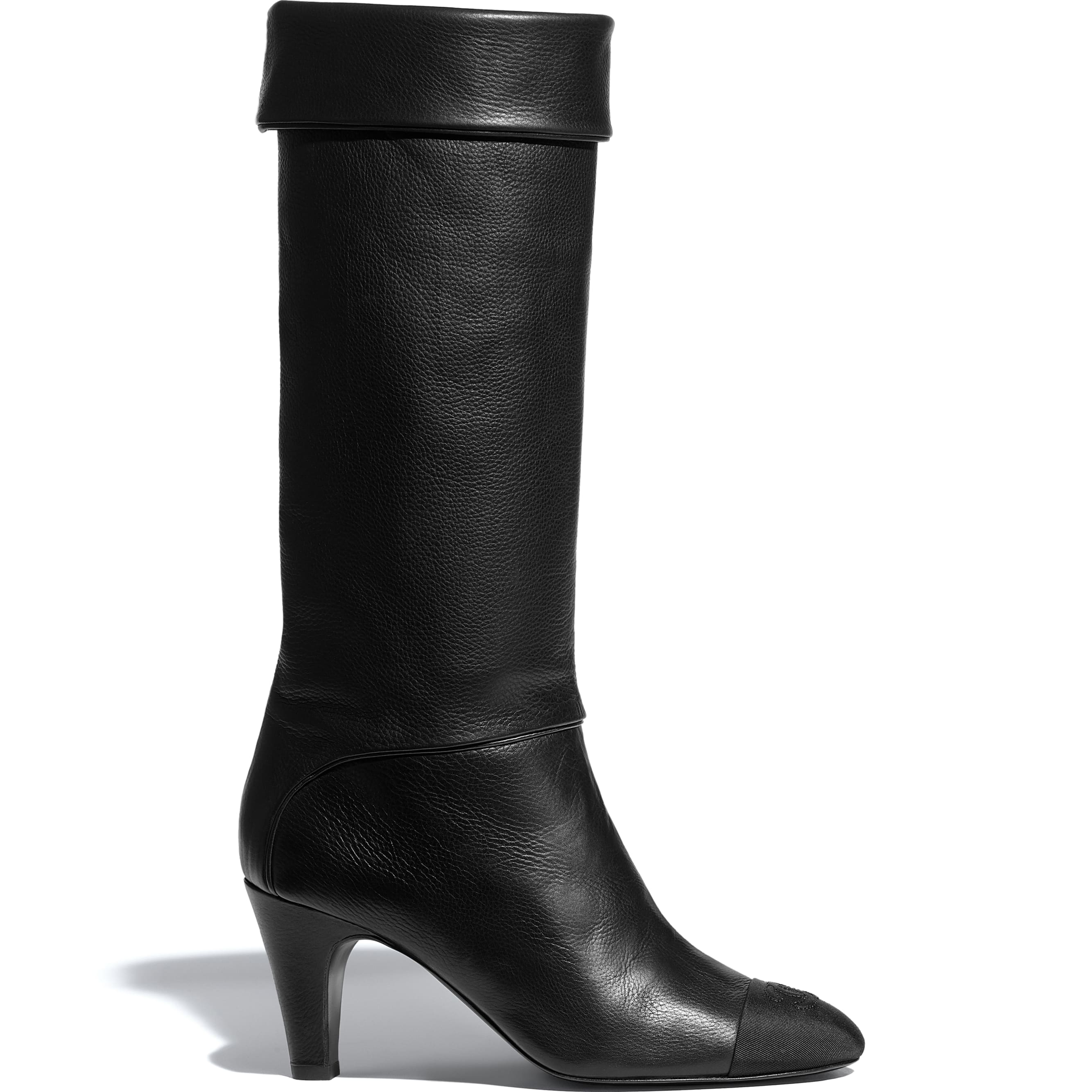 High Boots - Black - Calfskin & Grosgrain - CHANEL - Default view - see standard sized version