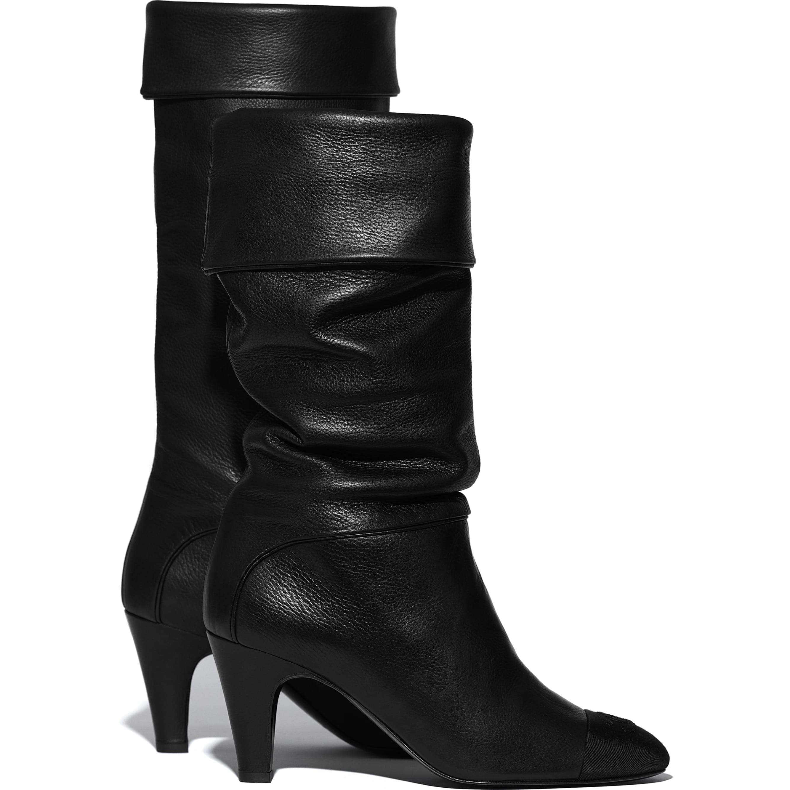 High Boots - Black - Calfskin & Grosgrain - CHANEL - Extra view - see standard sized version