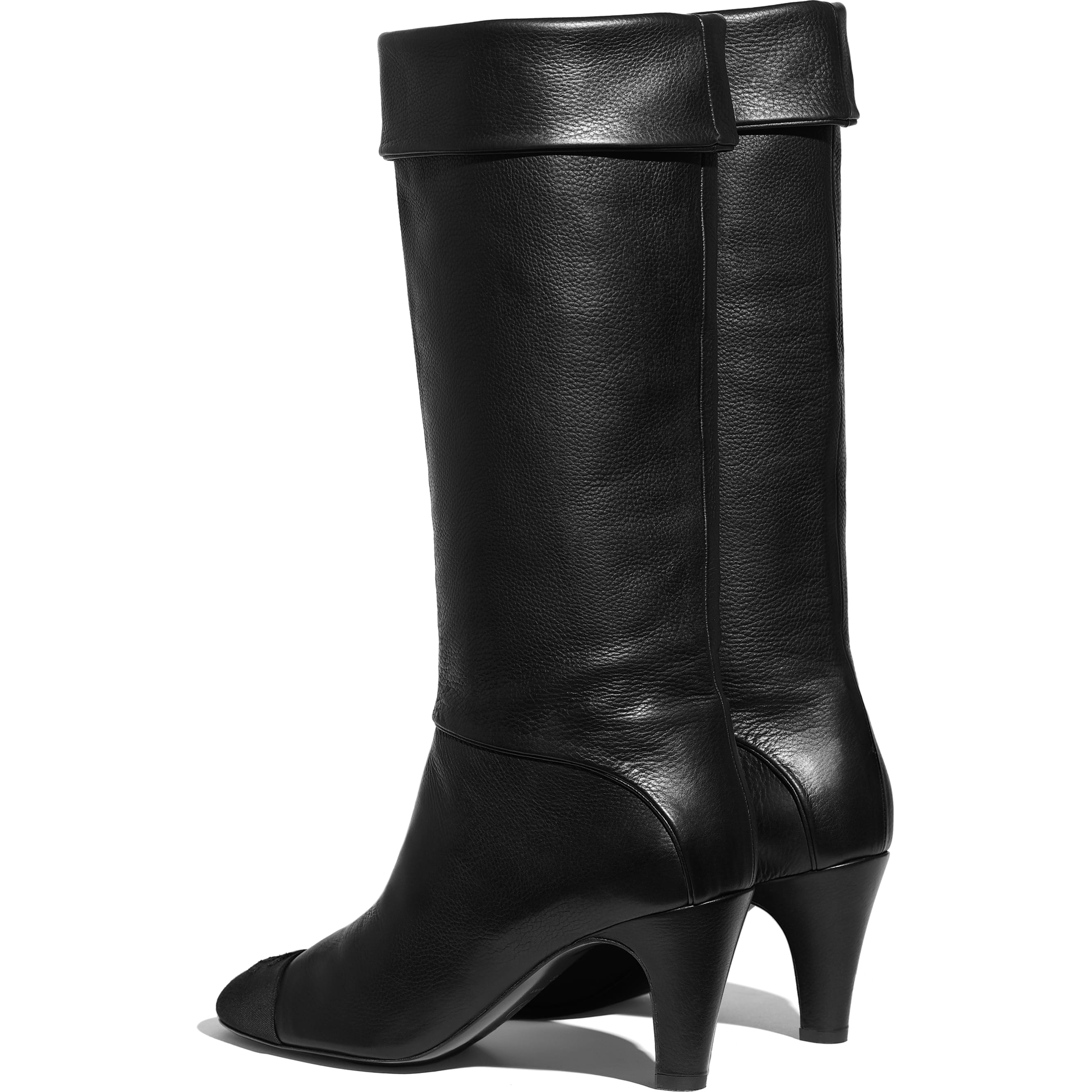 High Boots - Black - Calfskin & Grosgrain - CHANEL - Other view - see standard sized version