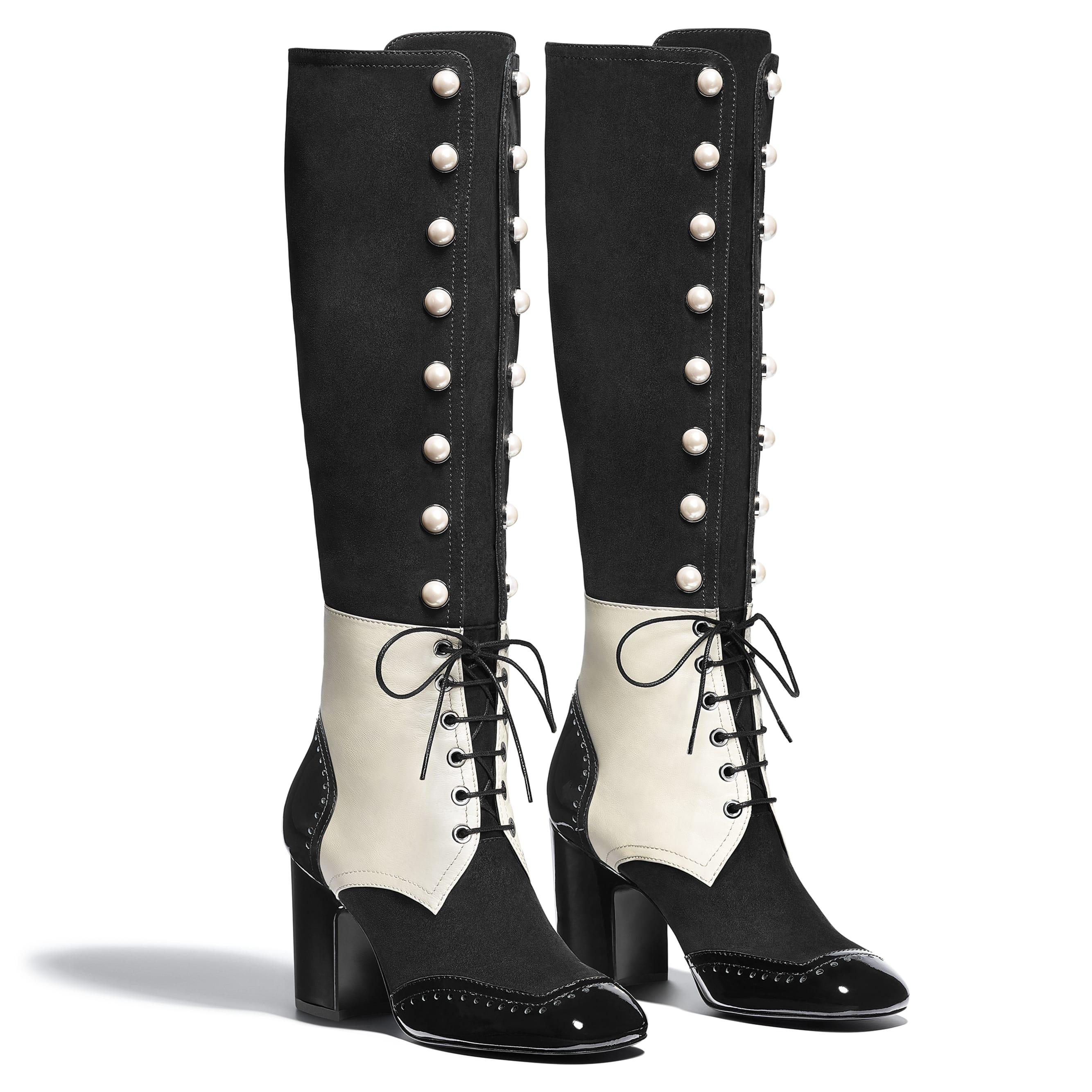High Boots - Black & Ecru - Suede Goatskin, Lambskin & Patent Calfskin - Alternative view - see standard sized version