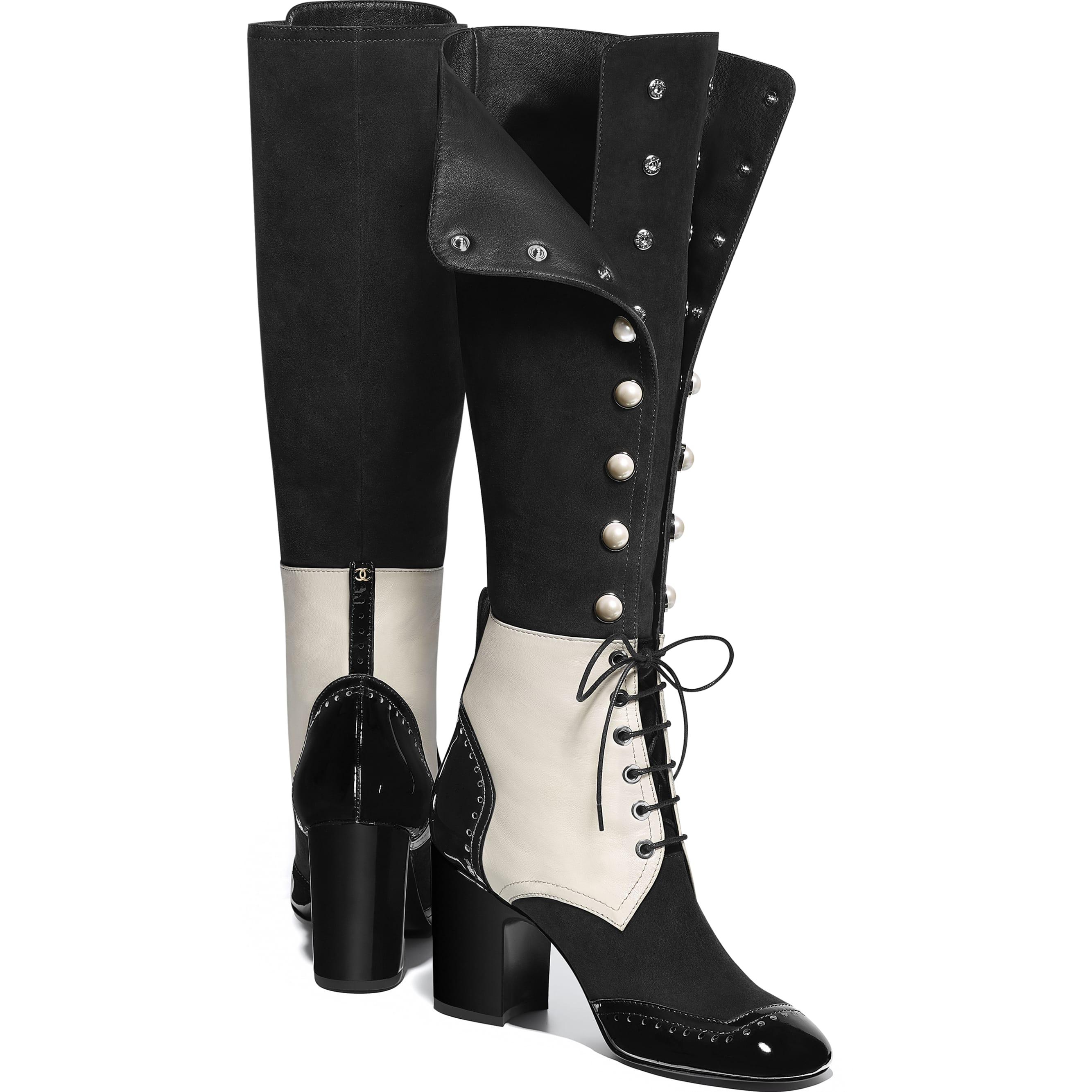 High Boots - Black & Ecru - Suede Goatskin, Lambskin & Patent Calfskin - Other view - see standard sized version