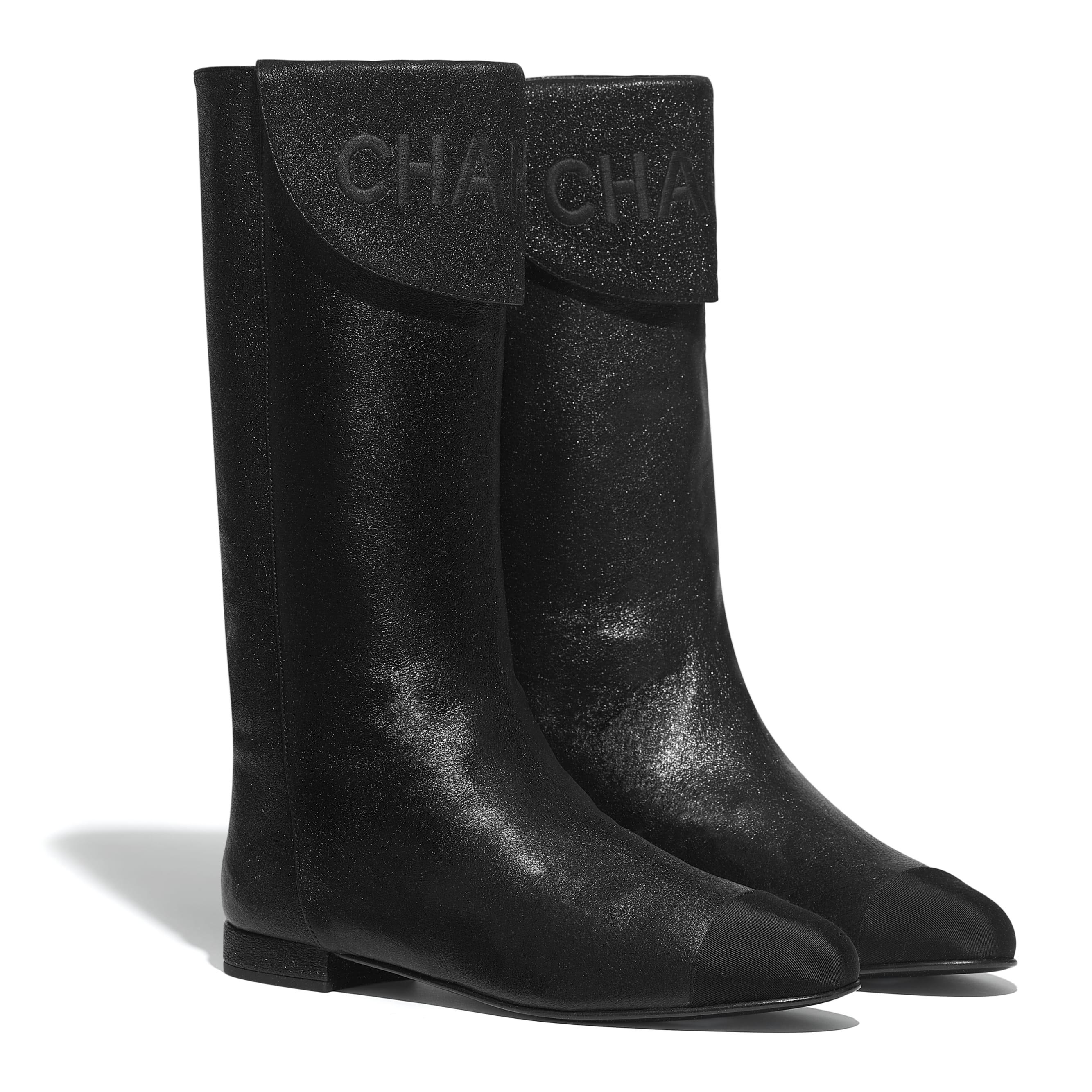 Сапоги - Черный - Кожа ягненка и шелковая ткань - Альтернативный вид - посмотреть изображение стандартного размера
