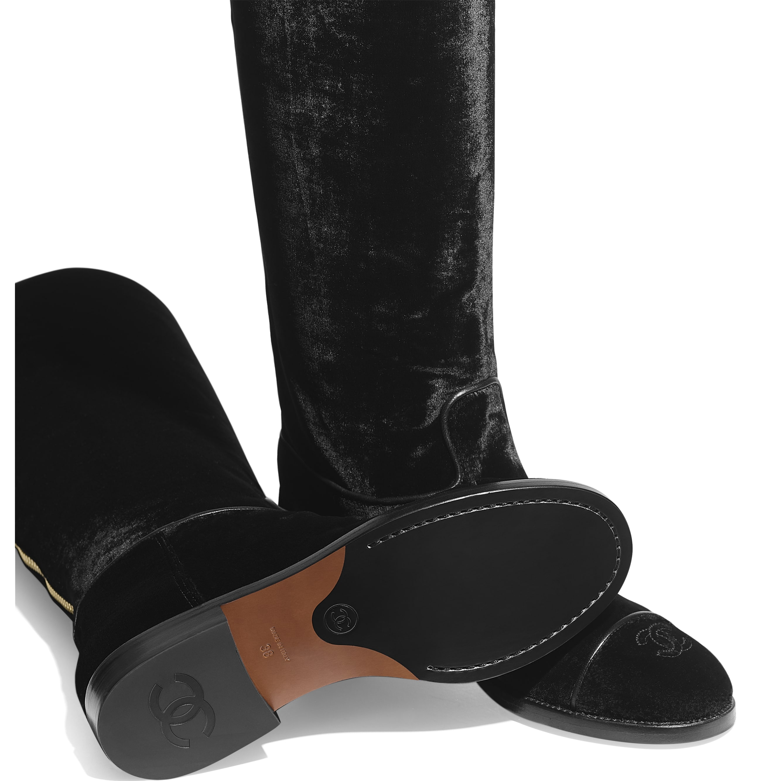 High Boots - Black - Velvet - Extra view - see standard sized version