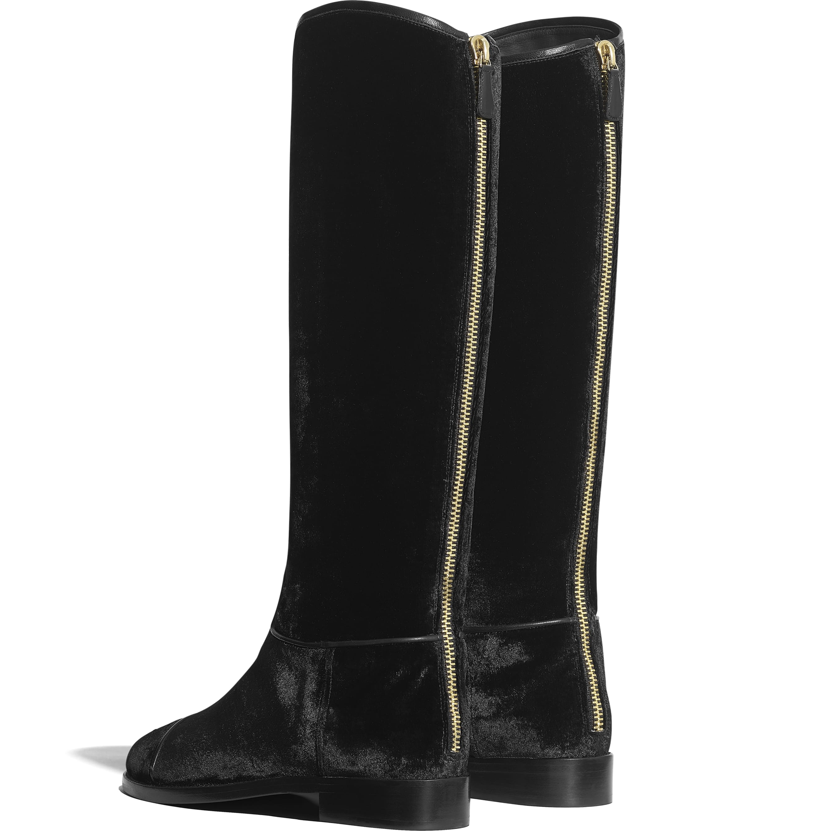 High Boots - Black - Velvet - Other view - see standard sized version