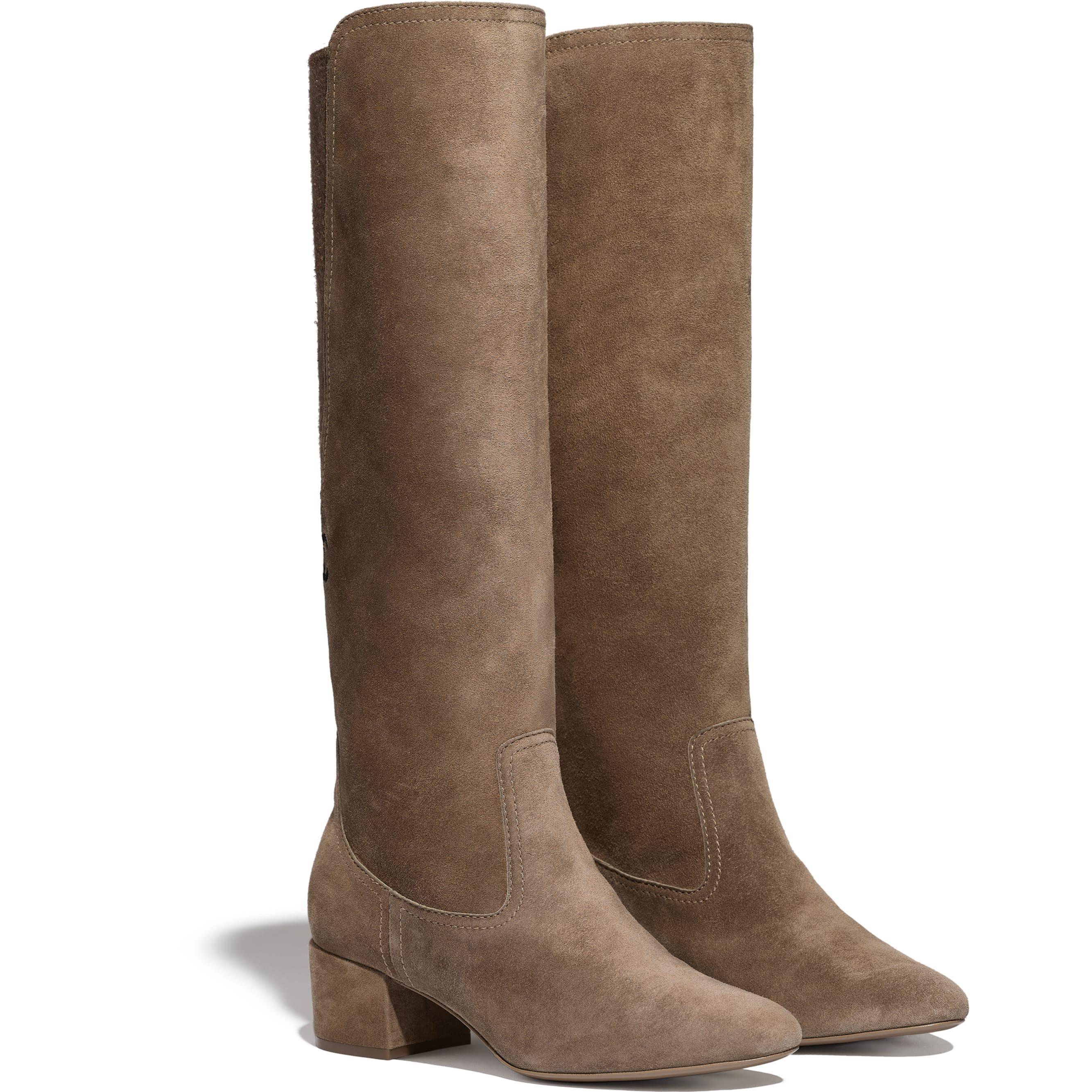 High Boots - Brown -  Velvet Calfskin & Mixed Fibers - Alternative view - see standard sized version