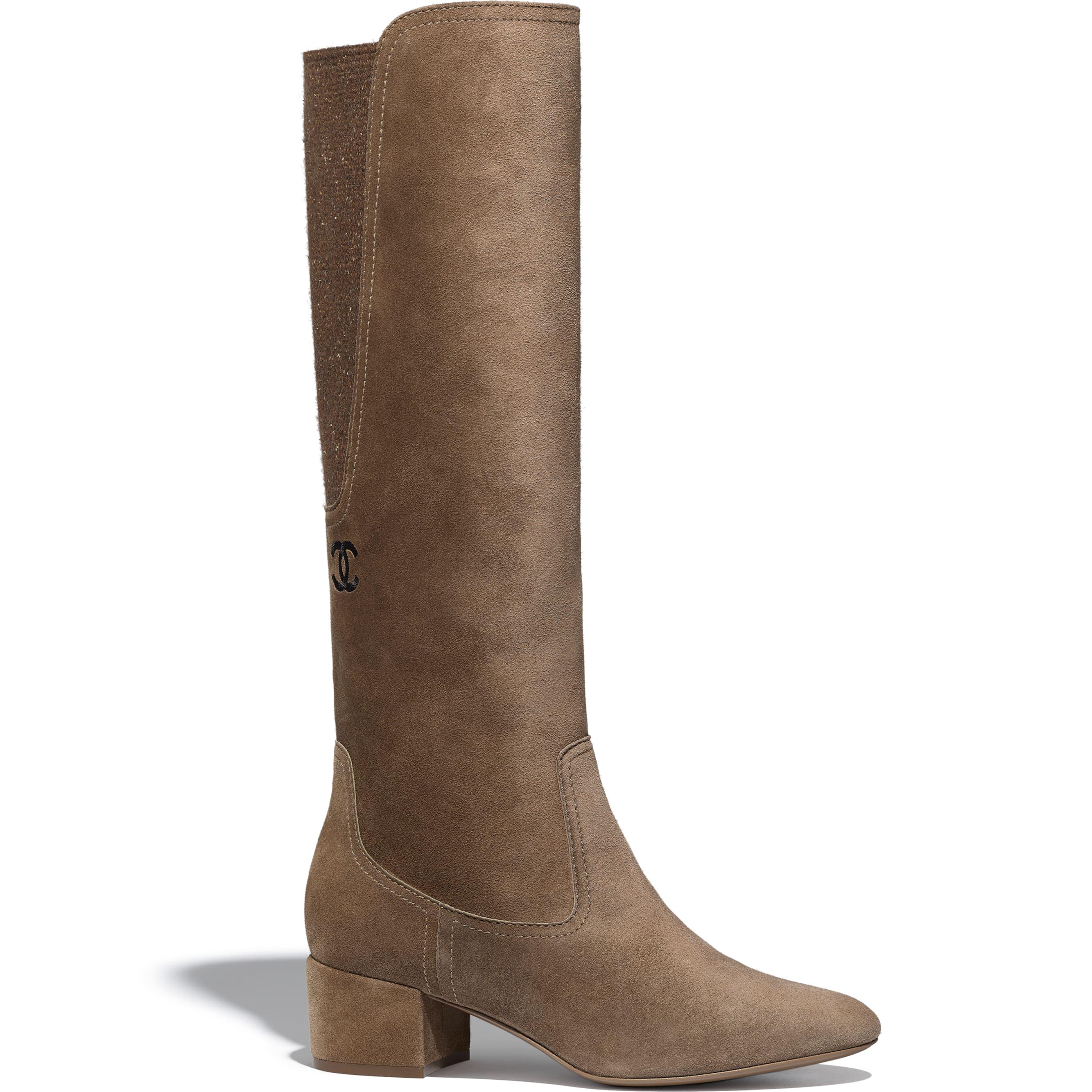 High Boots - Brown -  Velvet Calfskin & Mixed Fibers - Default view - see standard sized version