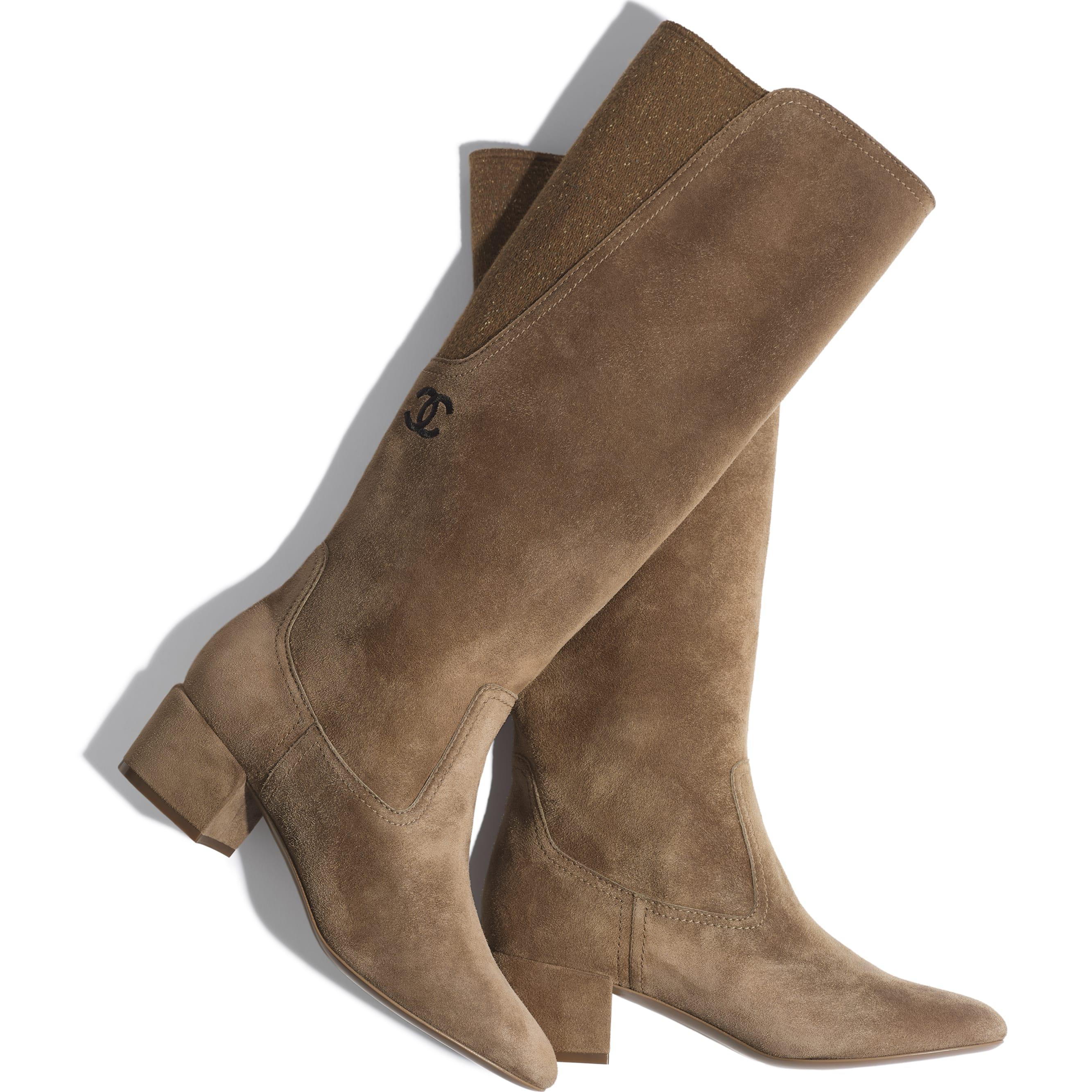 High Boots - Brown -  Velvet Calfskin & Mixed Fibers - Extra view - see standard sized version