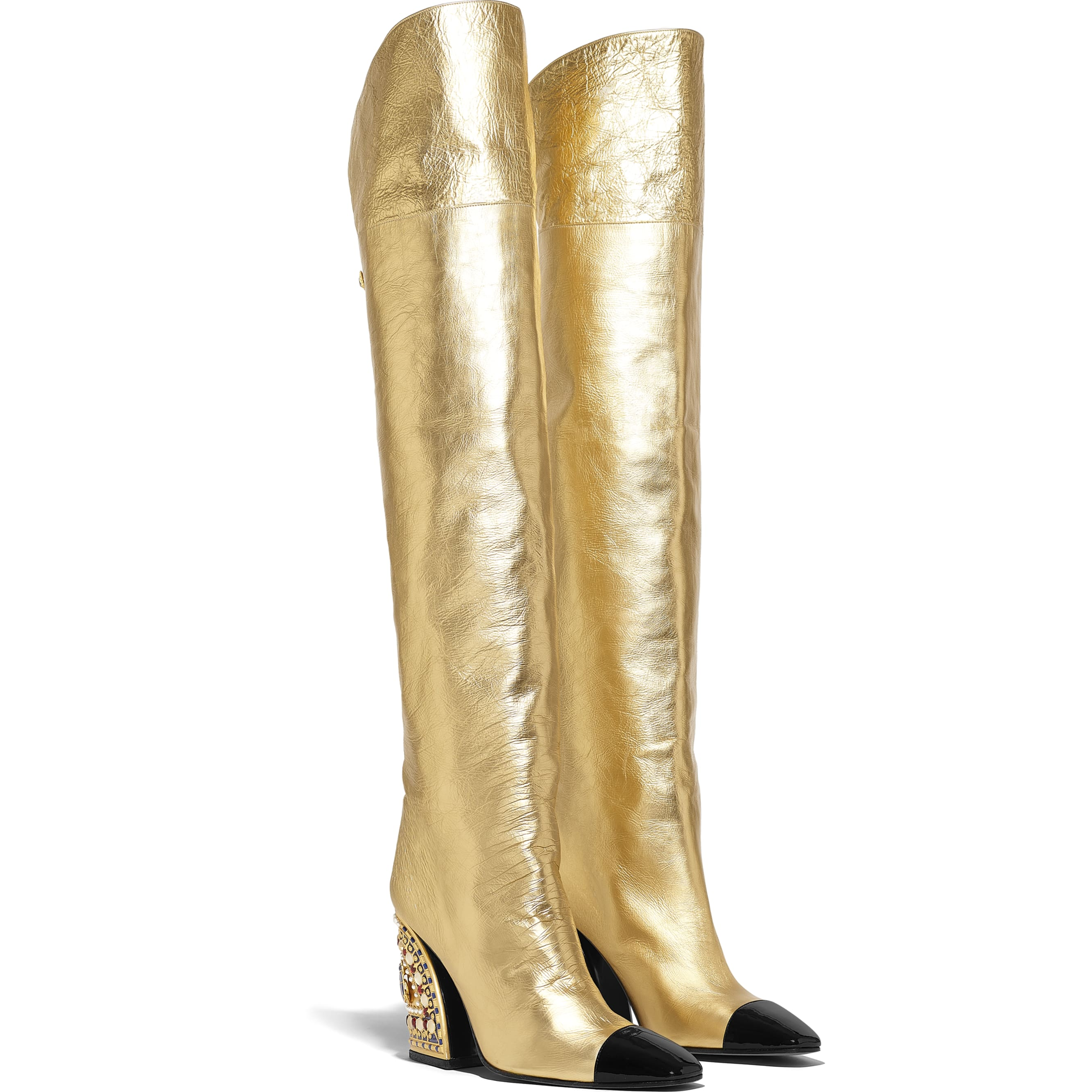High Boots - Gold & Black - Laminated Lambskin & Patent Calfskin - Alternative view - see standard sized version