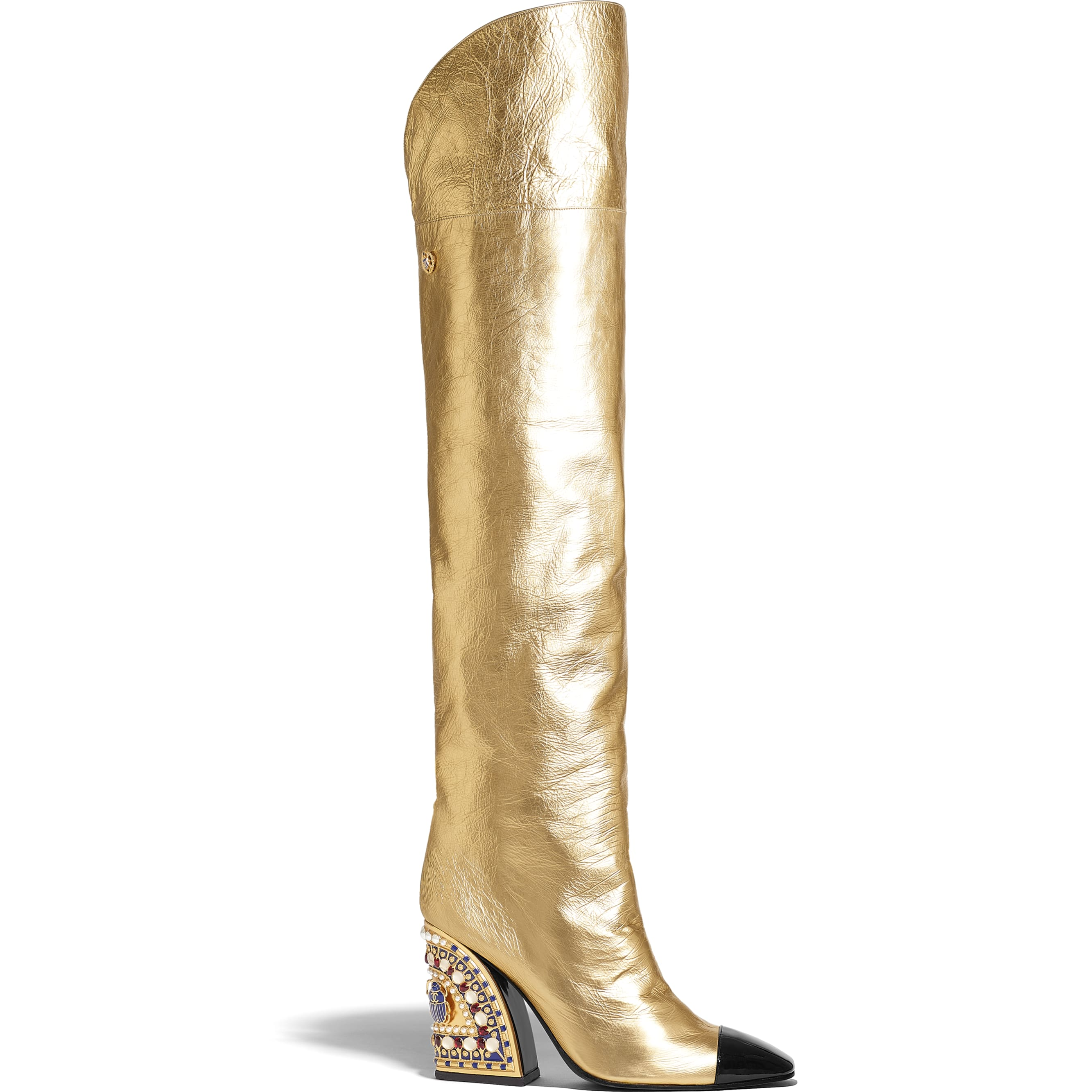 High Boots - Gold & Black - Laminated Lambskin & Patent Calfskin - Default view - see standard sized version