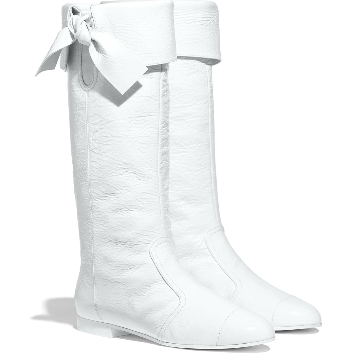 High Boots - White - Crumpled Lambskin - Alternative view - see standard sized version