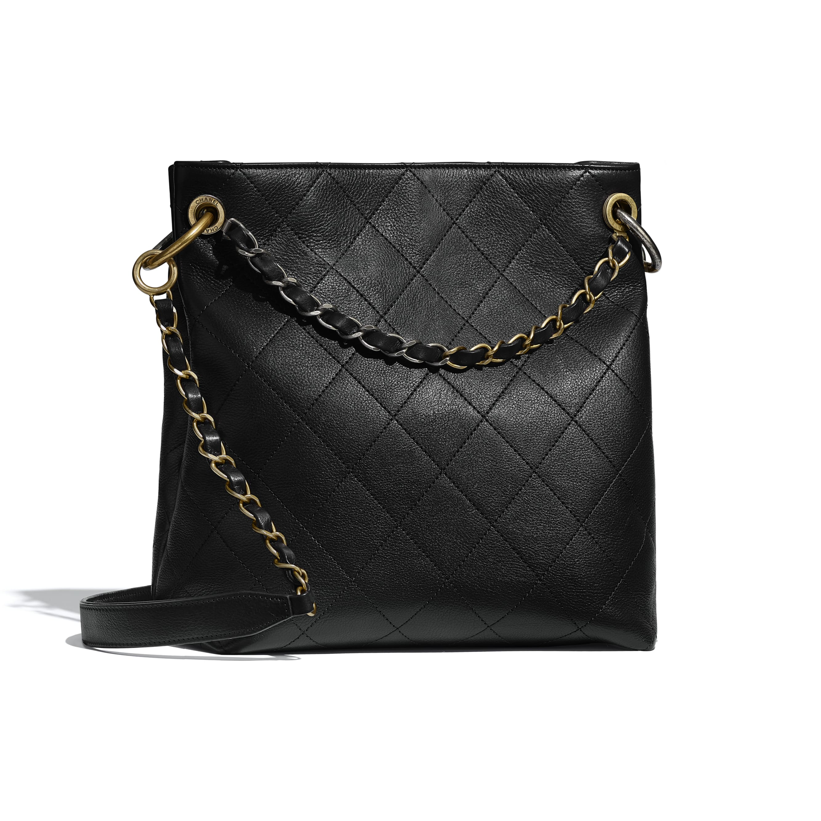 Hobo Handbag - Black - Calfskin, Gold-Tone, Silver-Tone & Ruthenium-Finish Metal - CHANEL - Alternative view - see standard sized version