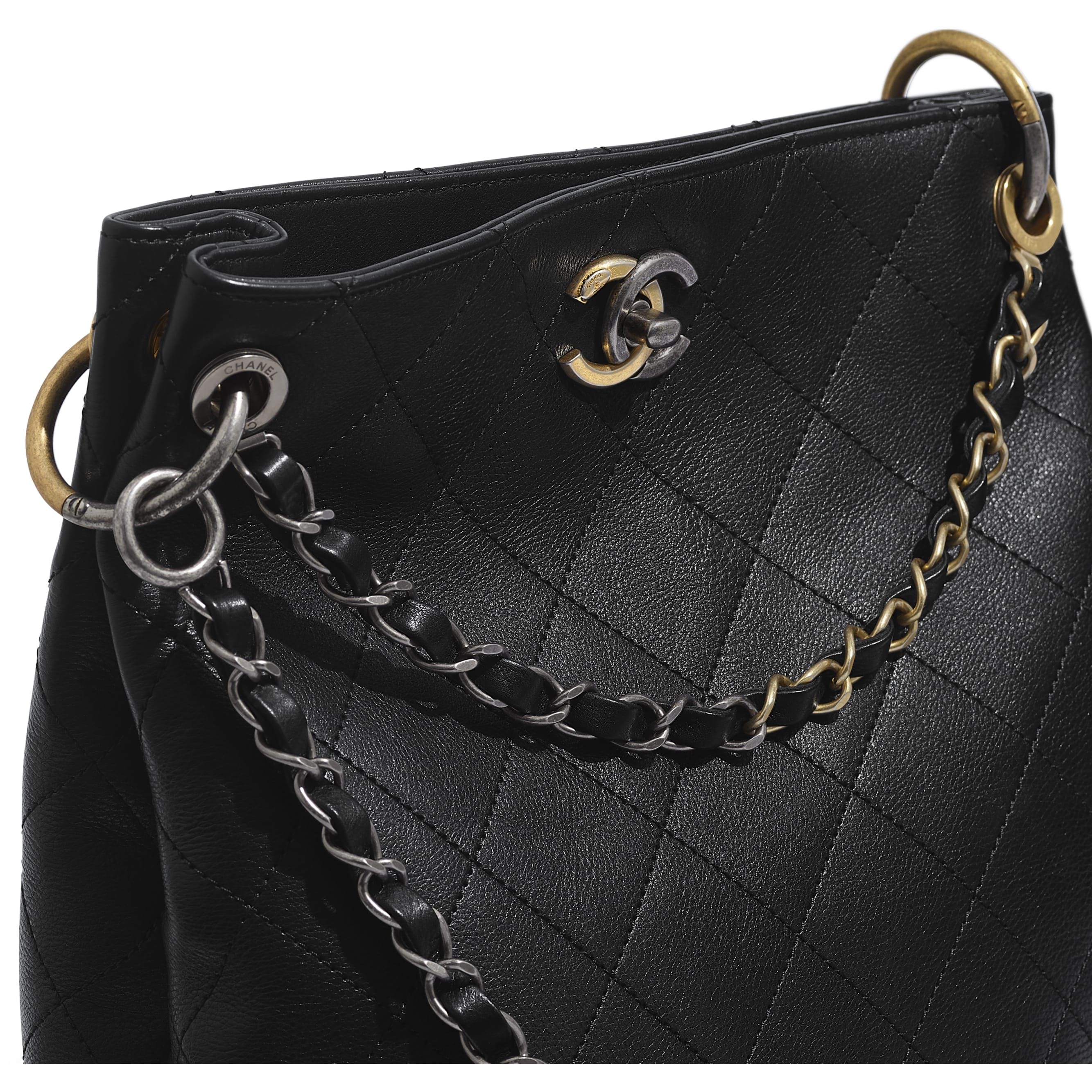 Hobo Handbag - Black - Calfskin, Gold-Tone, Silver-Tone & Ruthenium-Finish Metal - CHANEL - Extra view - see standard sized version