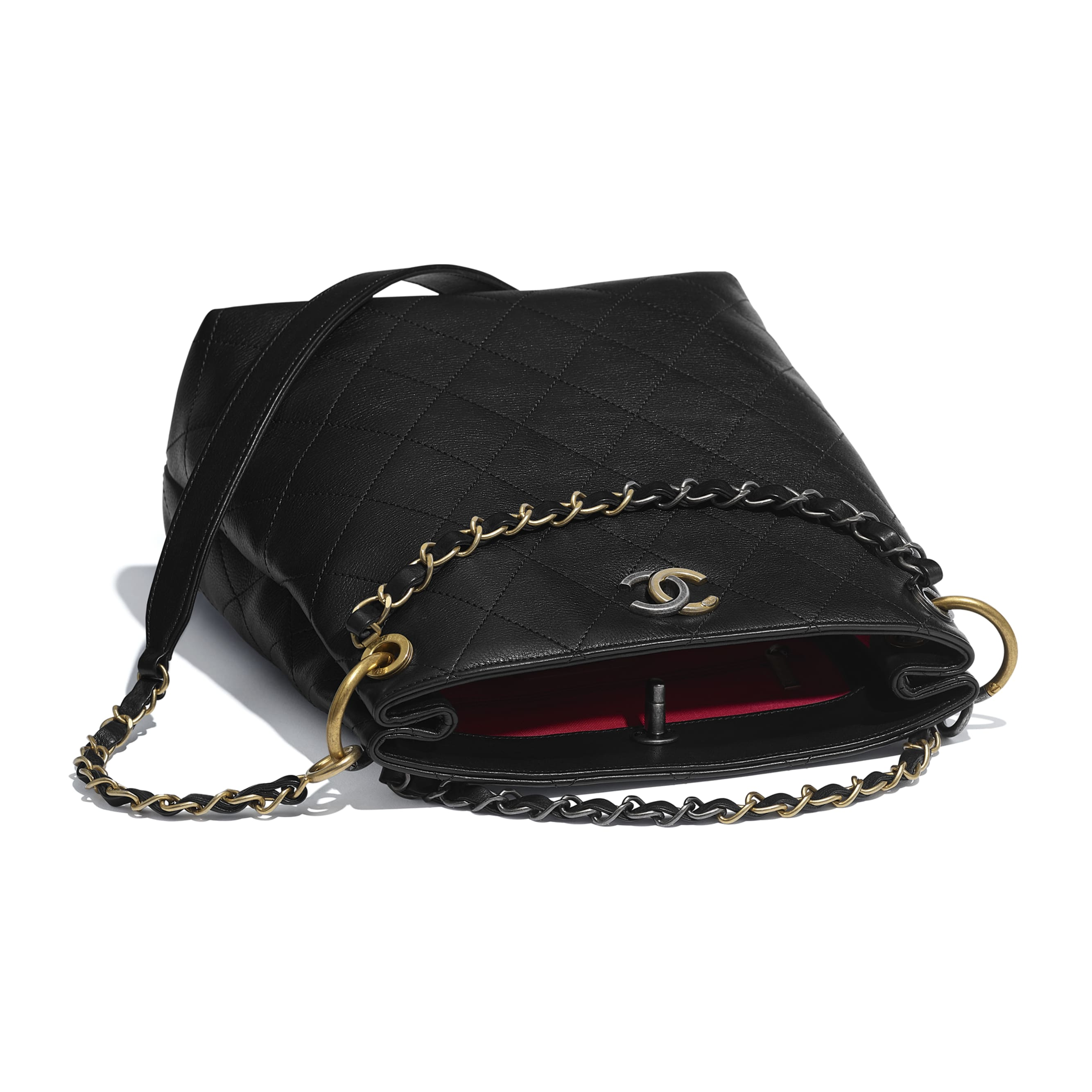 Hobo Handbag - Black - Calfskin, Gold-Tone, Silver-Tone & Ruthenium-Finish Metal - CHANEL - Other view - see standard sized version