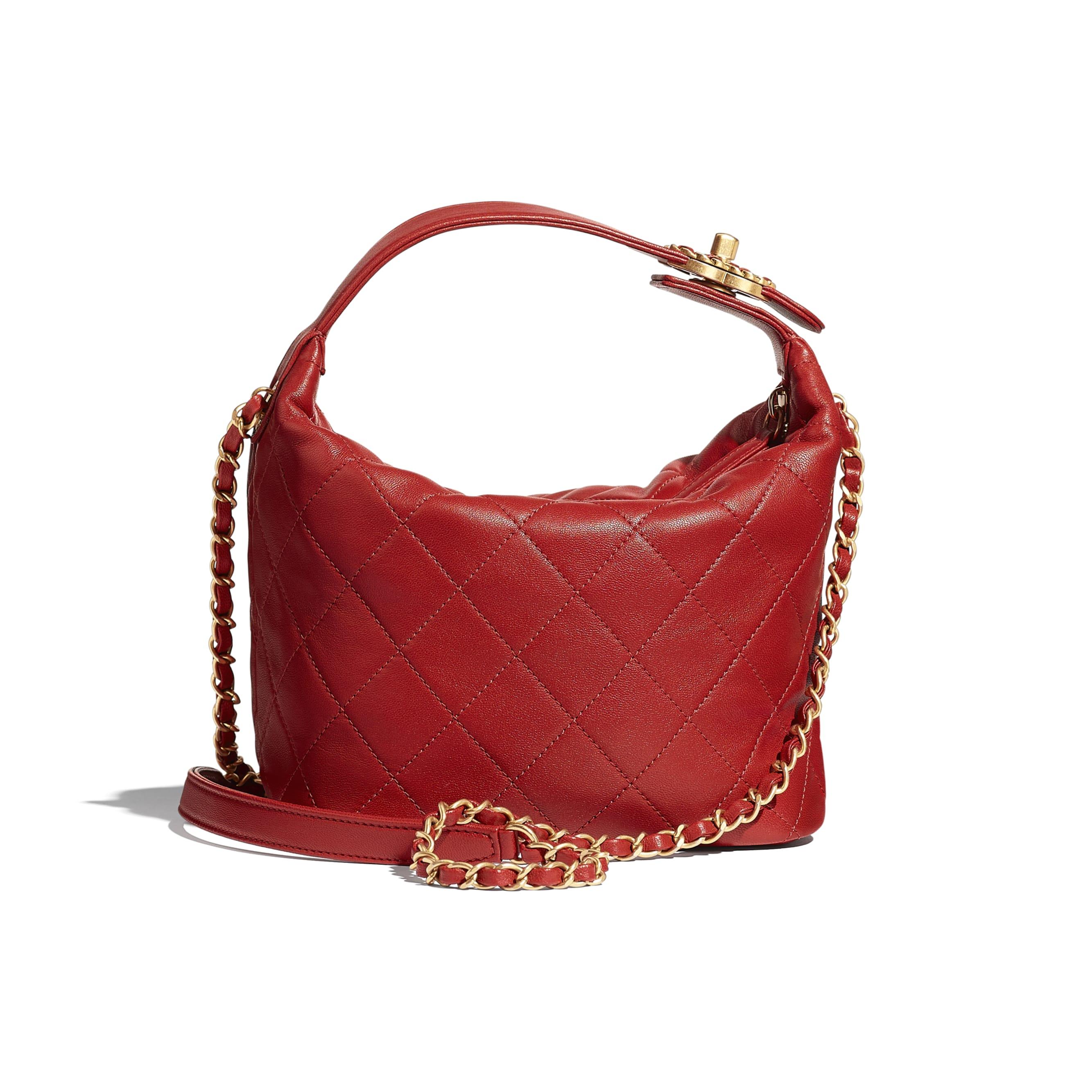Hobo Handbag - Red - Lambskin & Gold Metal - CHANEL - Alternative view - see standard sized version