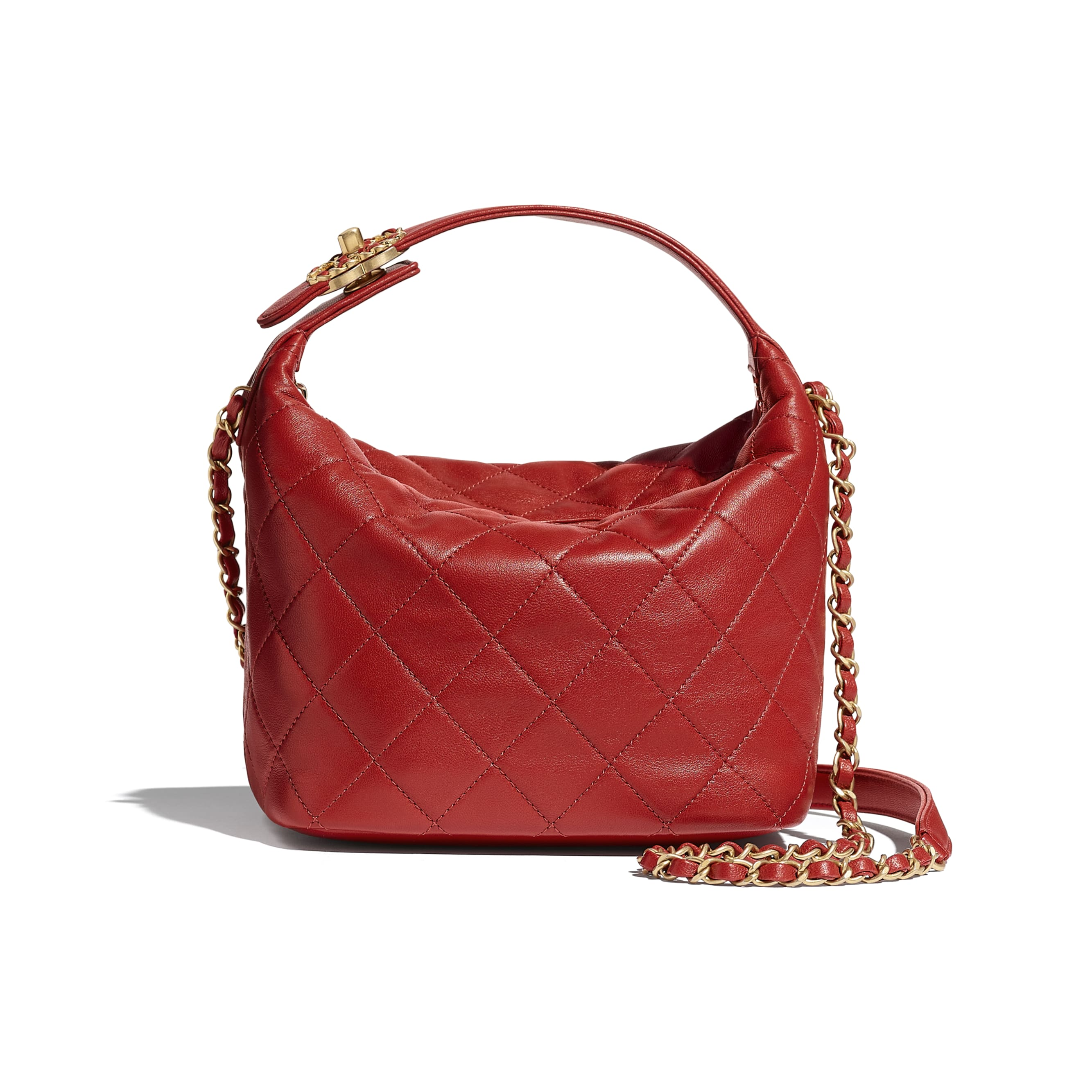 Hobo Handbag - Red - Lambskin & Gold Metal - CHANEL - Default view - see standard sized version